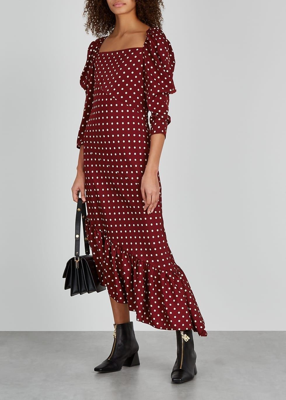 PUSHBUTTON Burgundy Polka-dot Satin Midi Dress