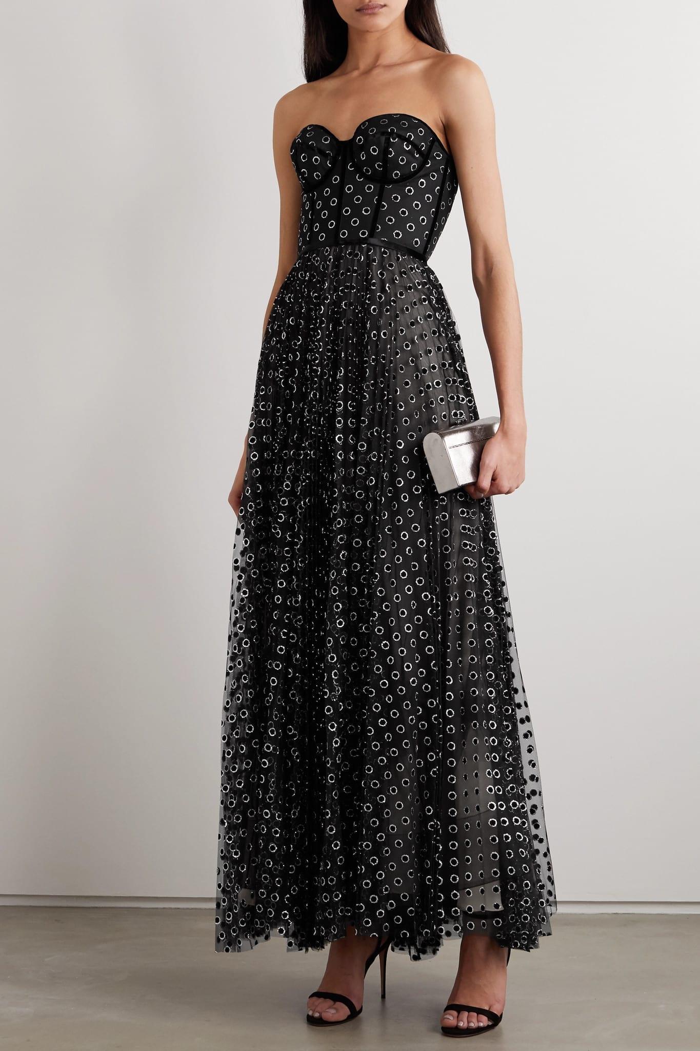 RALPH & RUSSO Strapless Velvet-trimmed Glittered Polka-dot Flocked Tulle Gown