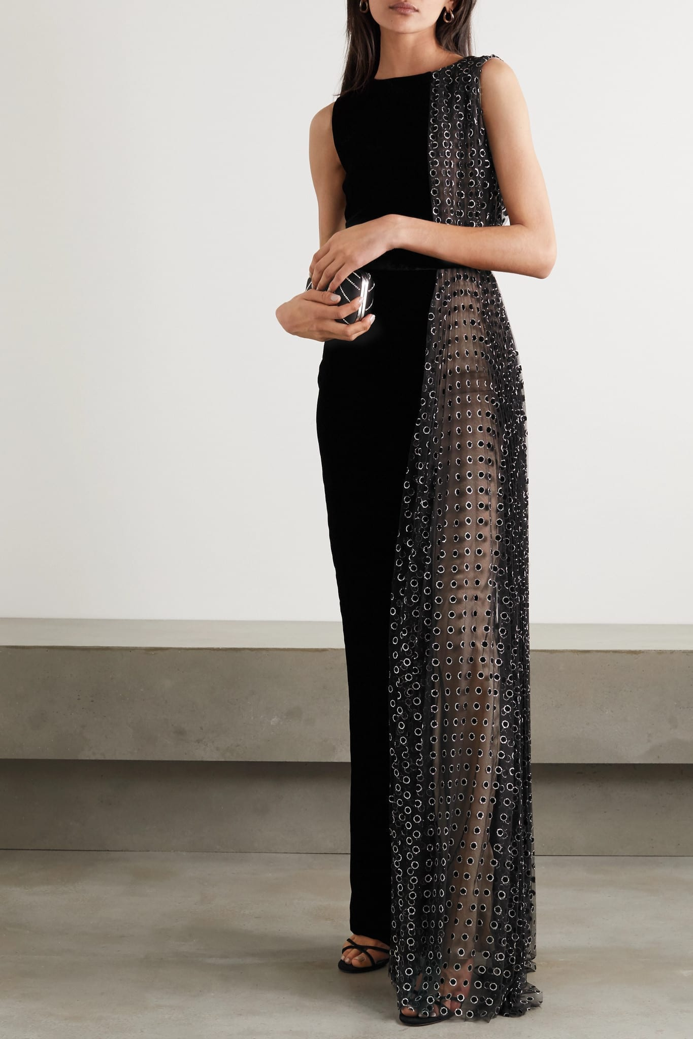RALPH & RUSSO Velvet And Glittered Polka-dot Flocked Tulle Gown