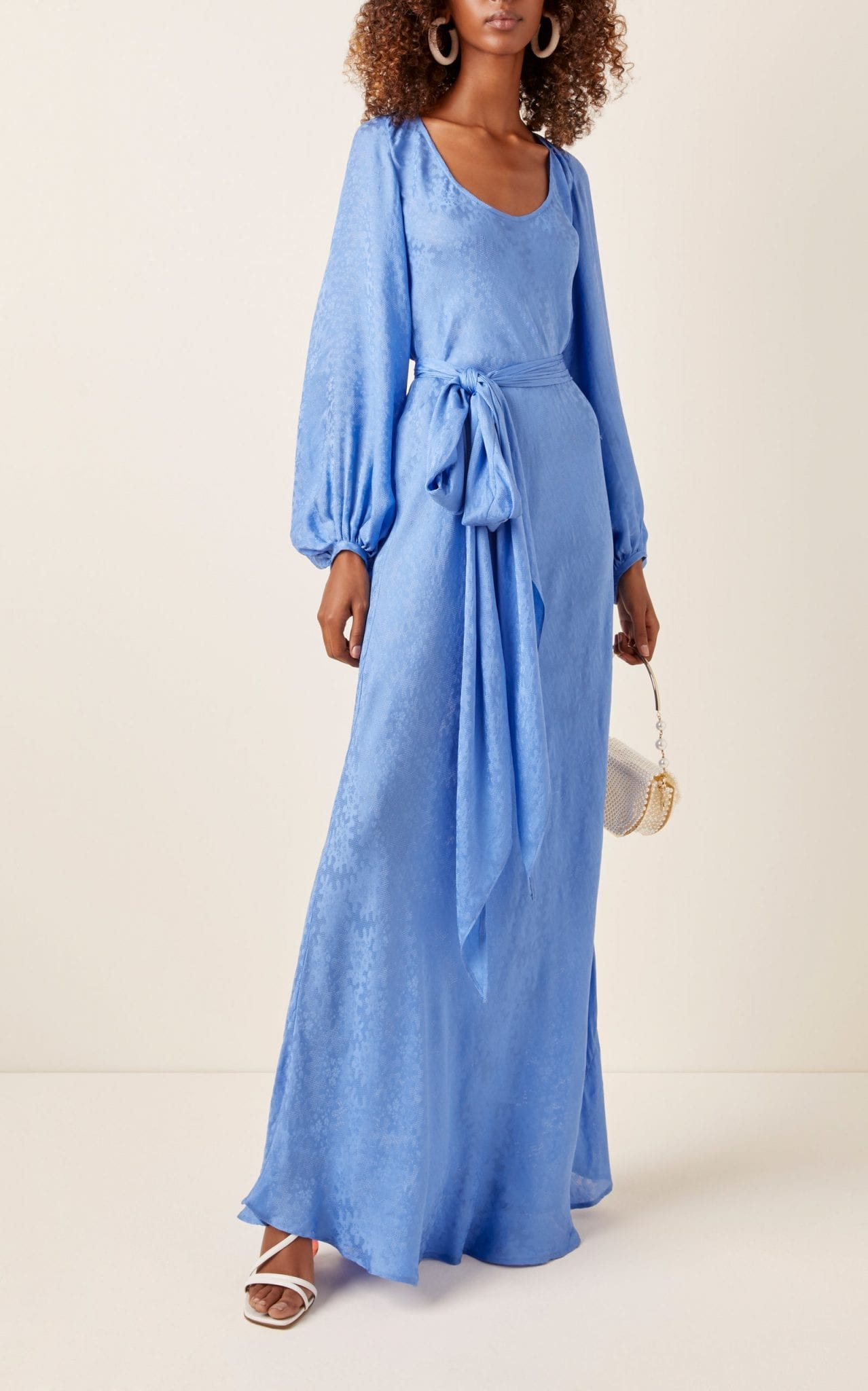 REBECCA DE RAVENEL Bias Belted Silk-Jacquard Maxi Dress