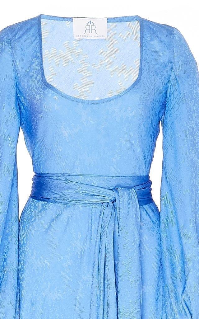 REBECCA DE RAVENEL Bias Belted Silk-Jacquard Maxi Dress