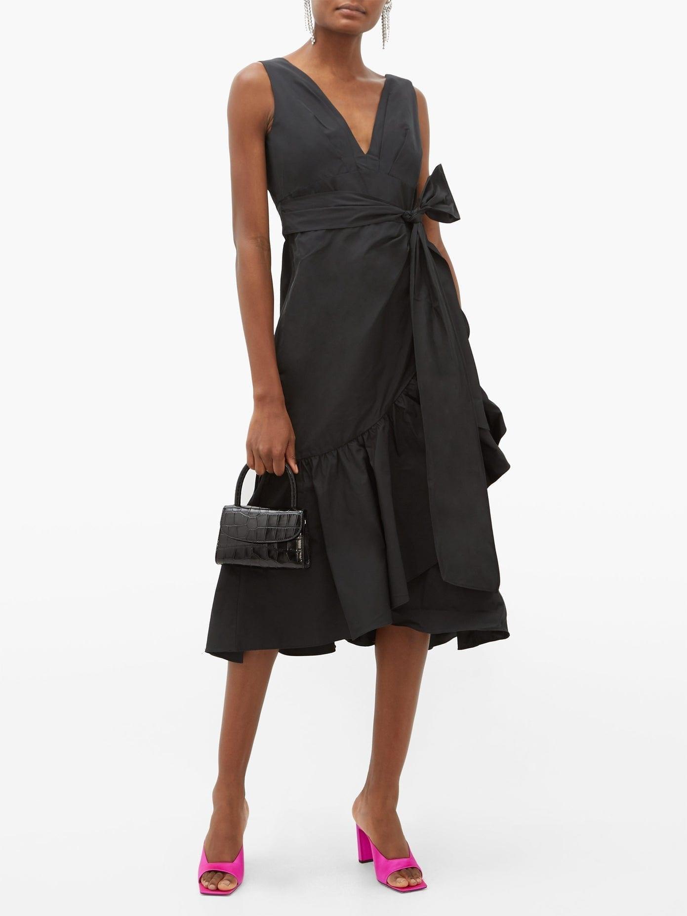 REBECCA TAYLOR Ruffled Taffeta Wrap Dress