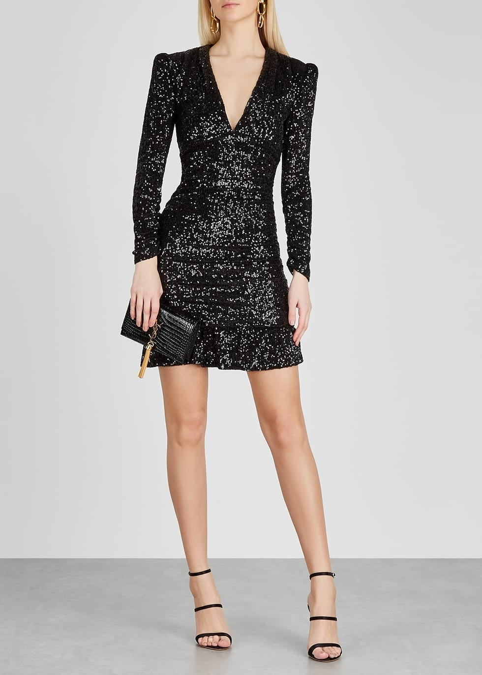 REBECCA VALLANCE Mona Black Sequin Mini Dress