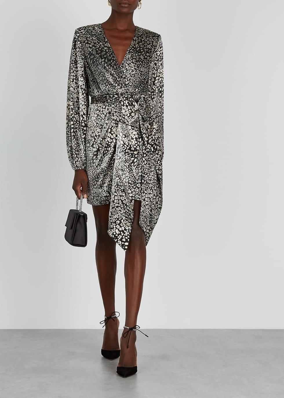 REBECCA VALLANCE Vienna Leopard-print Fine-knit Mini Dress