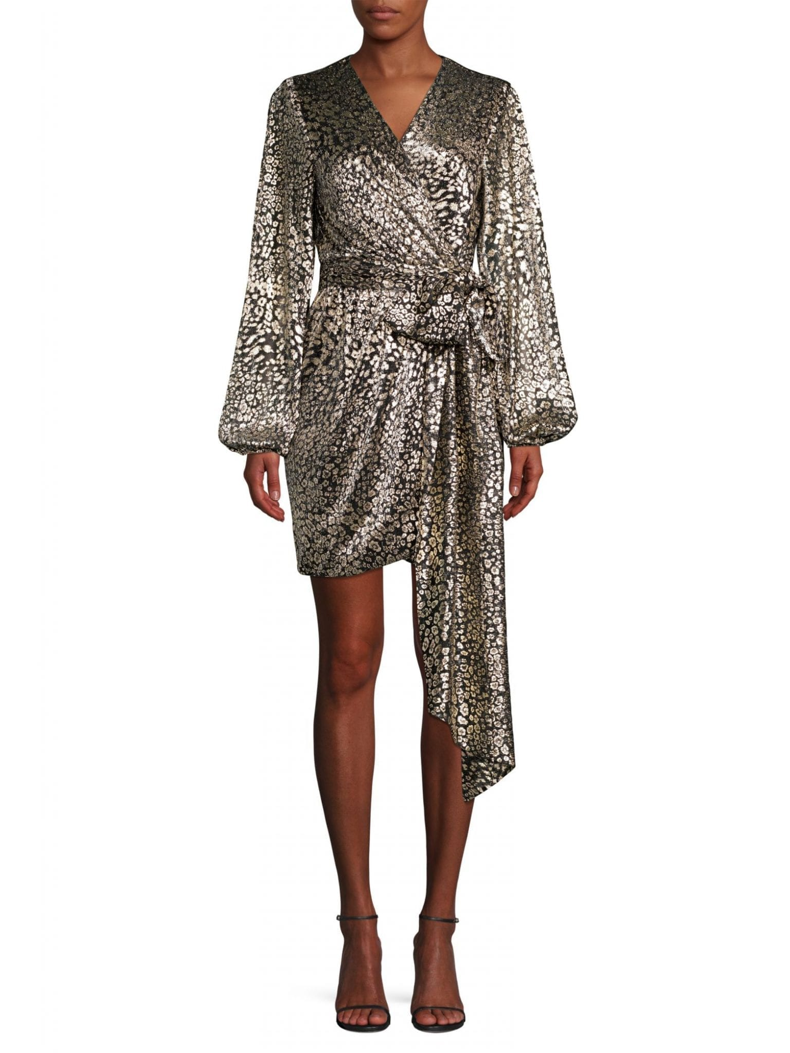 REBECCA VALLANCE Vienna Metallic Leopard Print Mini Dress
