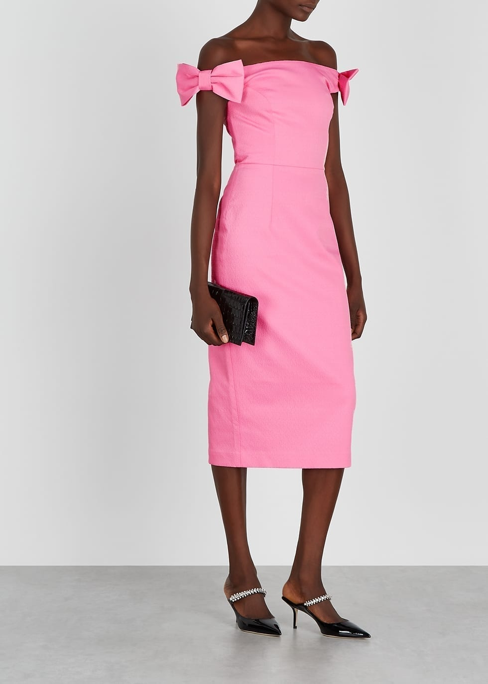 REBECCA VALLANCE Winslow Pink Off-the-shoulder Midi Dress