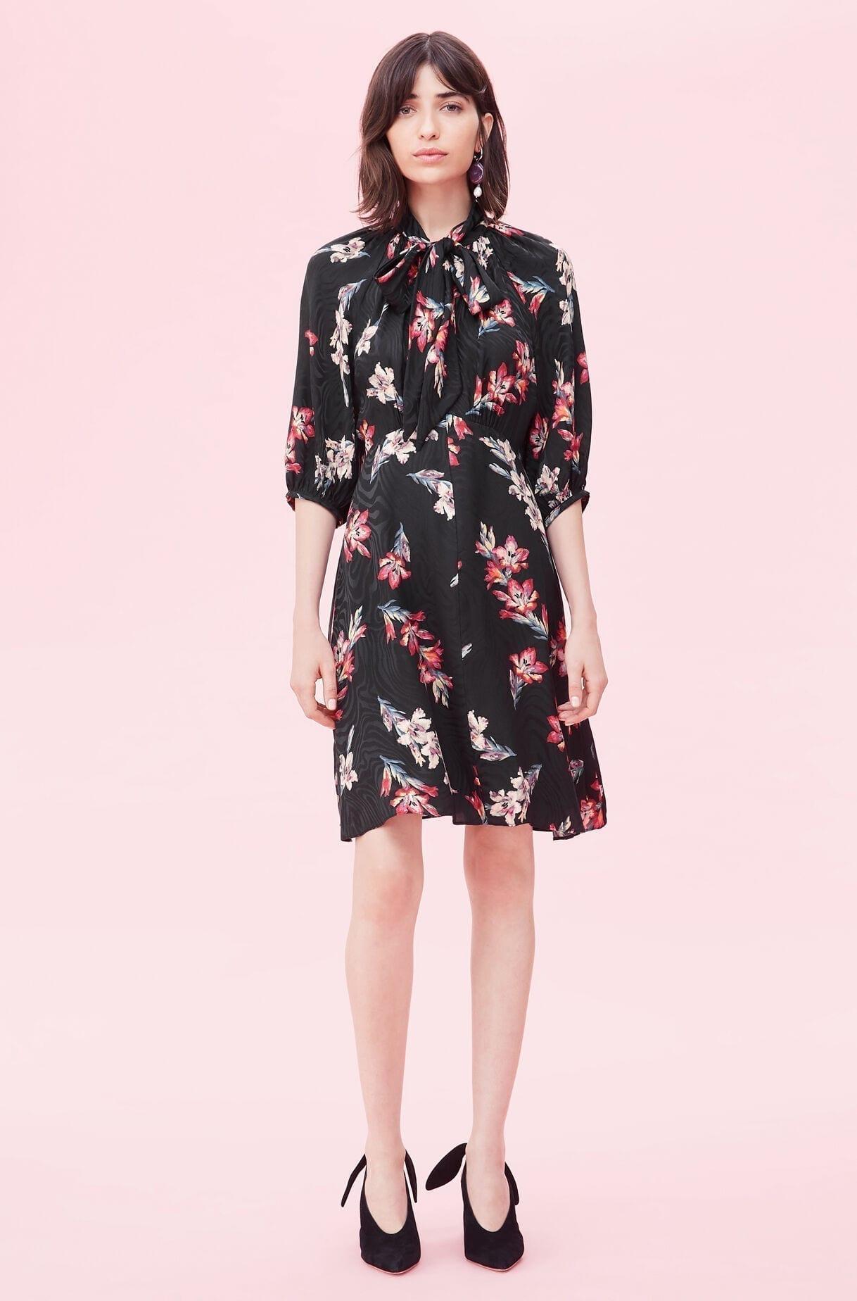 REBECKA TAYLOR Noha Floral Jacquard Dress