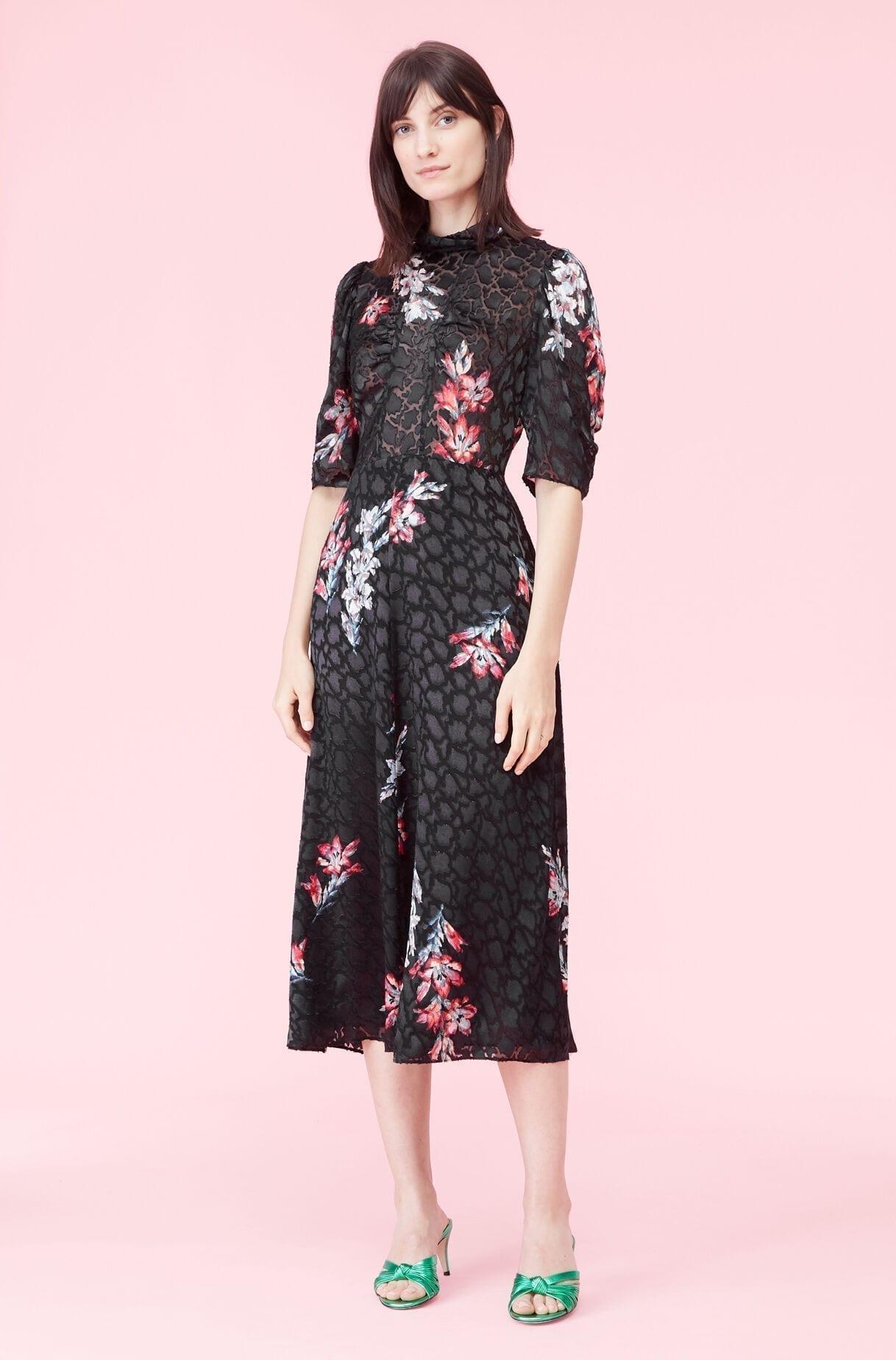 REBECKA TAYLOR Noha Floral Mock Neck Dress