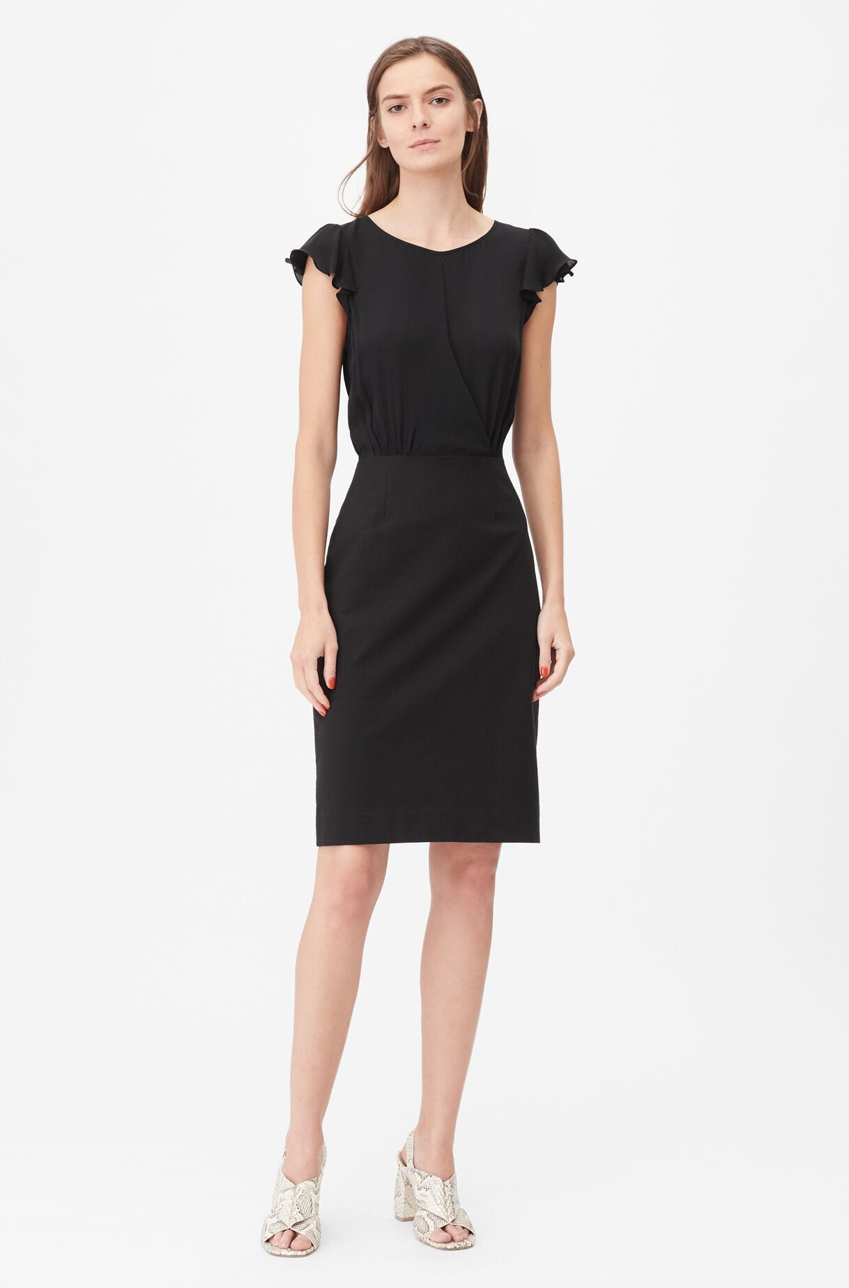 REBECKA TAYLOR Tailored Silk & Stretch Modern Suiting Dress
