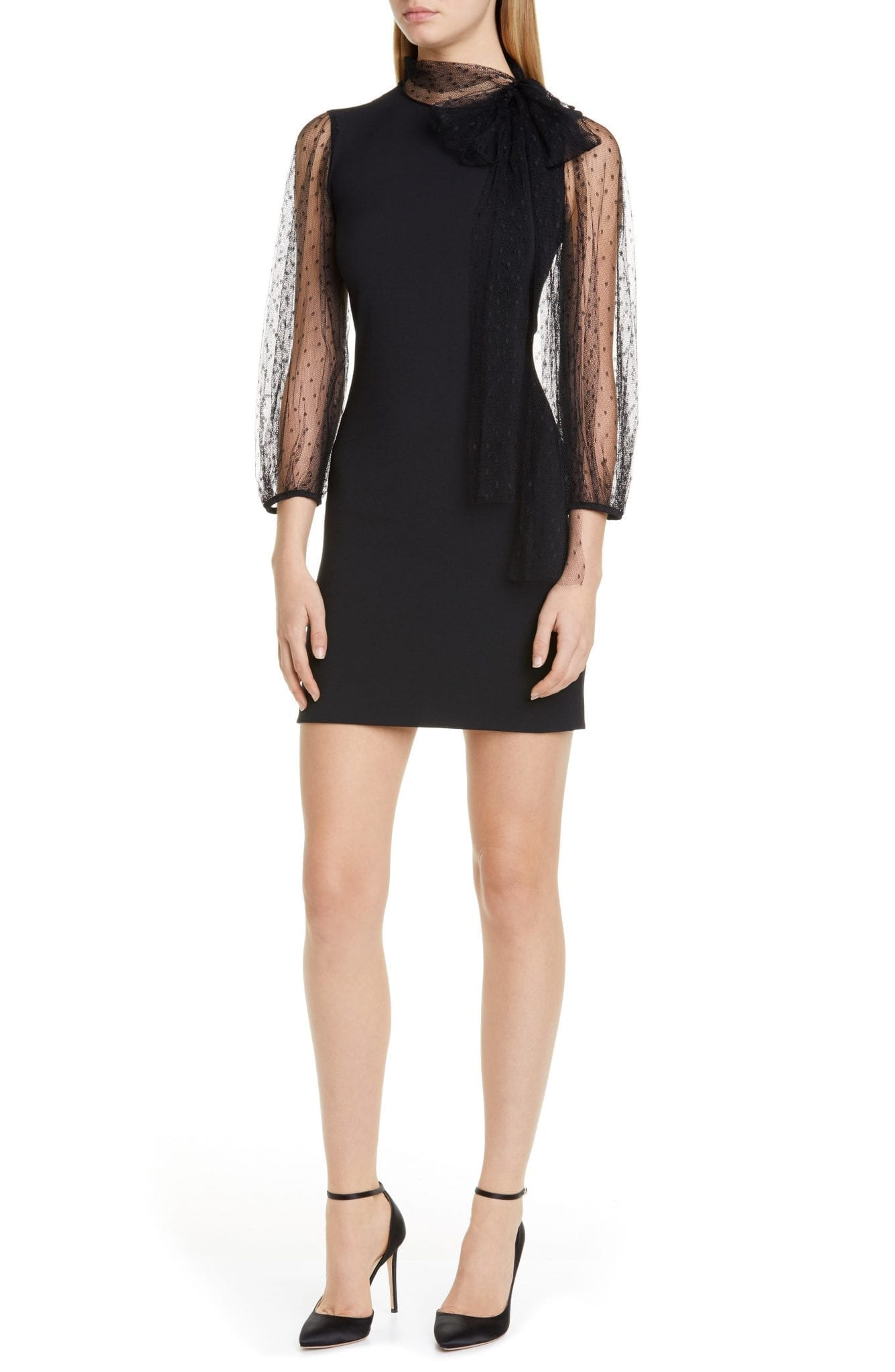 RED VALENTINO Dot Tulle Tie Neck Mini Dress
