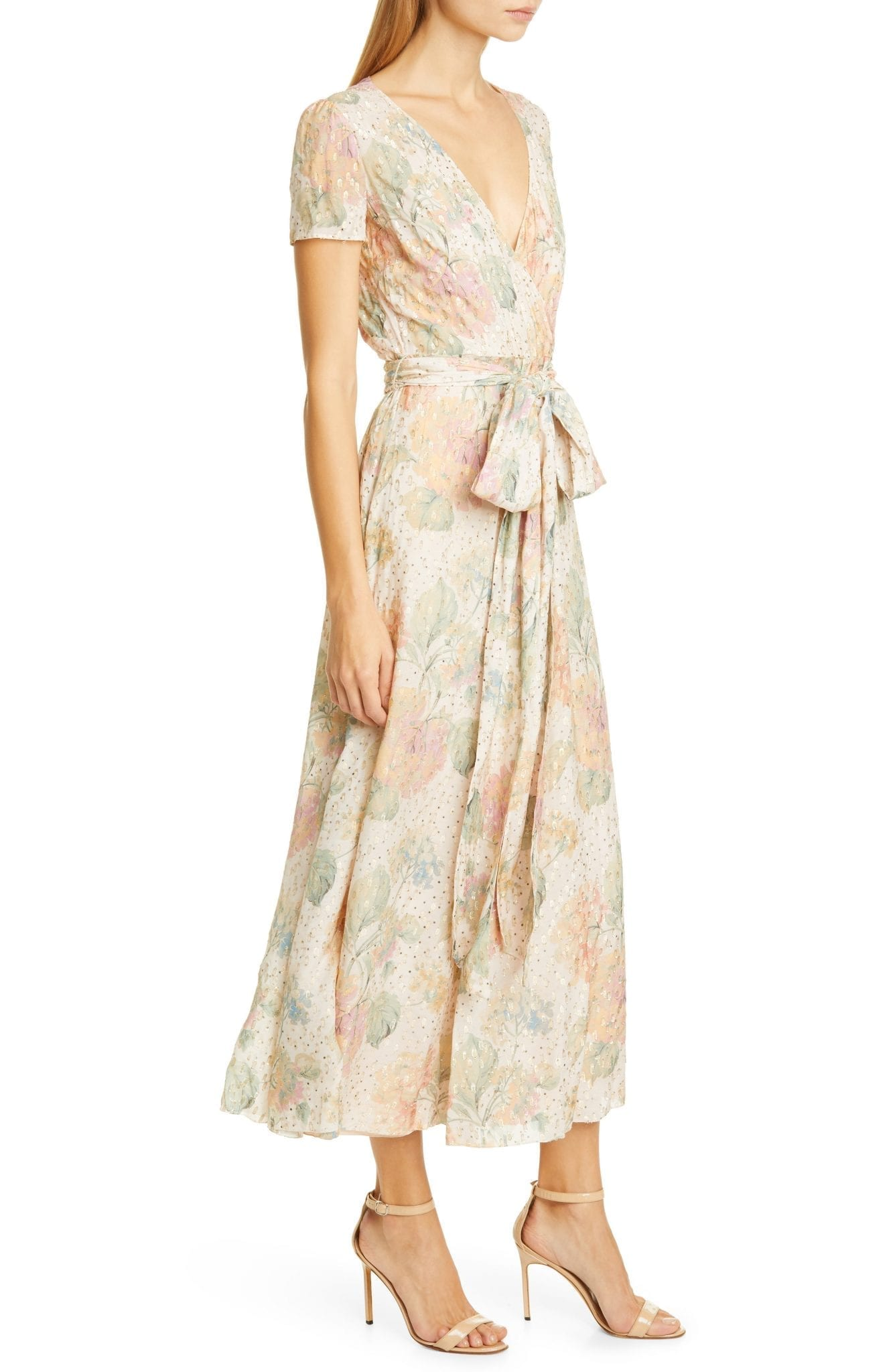 RED VALENTINO Floral Fil Coupé Faux Wrap Dress