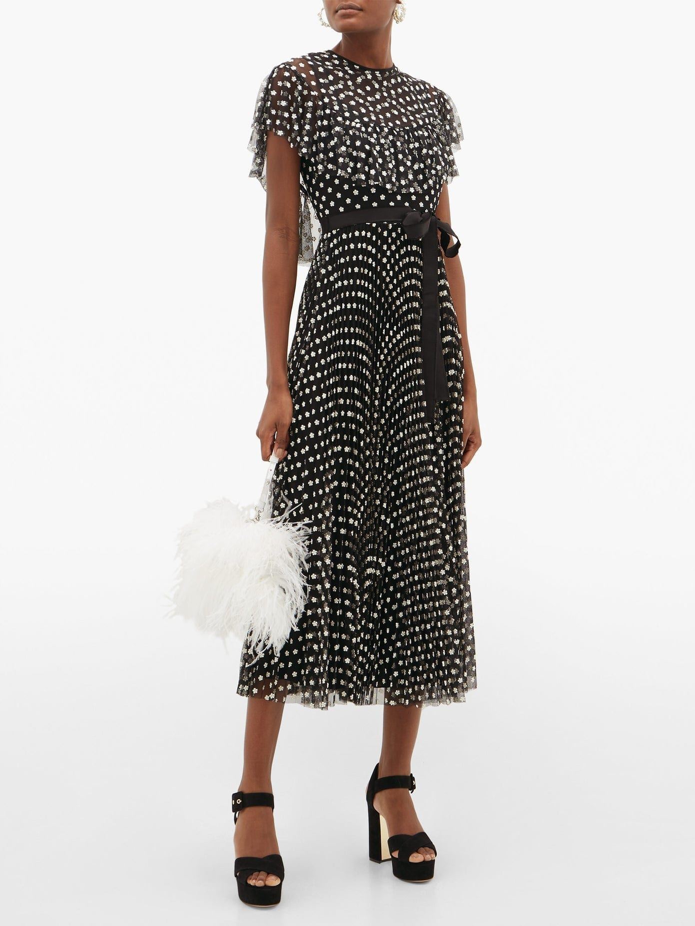 REDVALENTINO Daisy-embroidered Tulle Dress