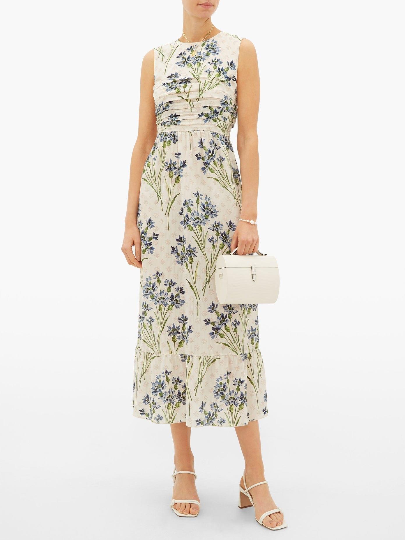 REDVALENTINO Pleated Cornflower-print Silk-crepe Dress