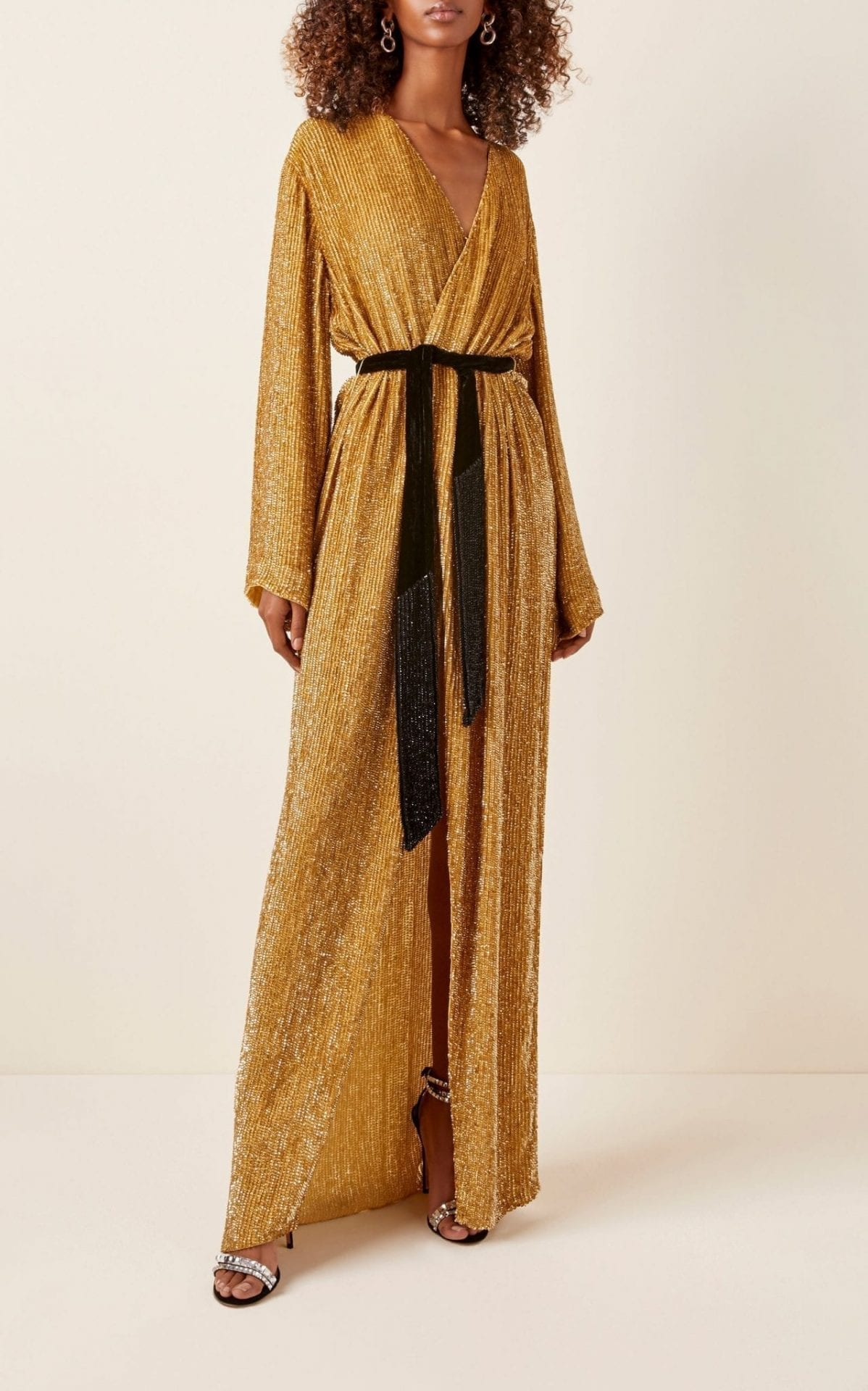 RETROFÊTE Janet Belted Sequined Chiffon Maxi Dress