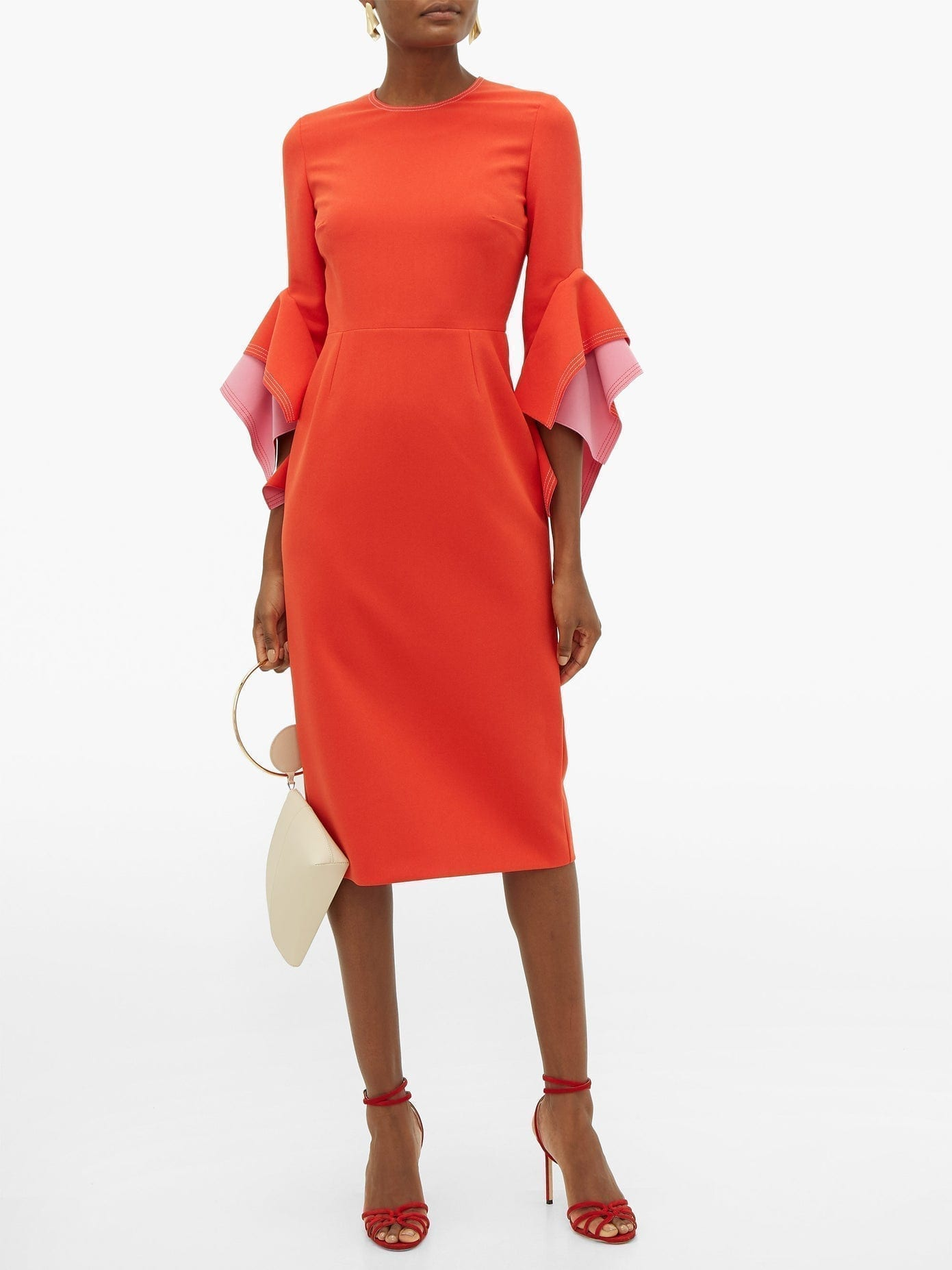 ROKSANDA Ronda Contrast-panel Fluted-cuff Cady Dress