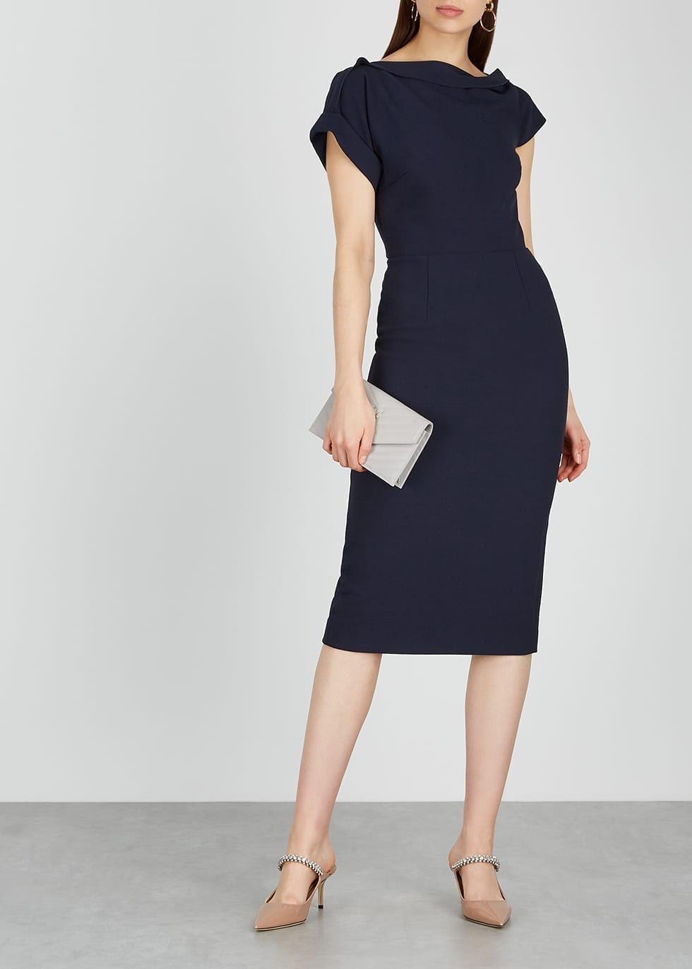 ROLAND MOURET Brenin Navy Stretch-cady Midi Dress