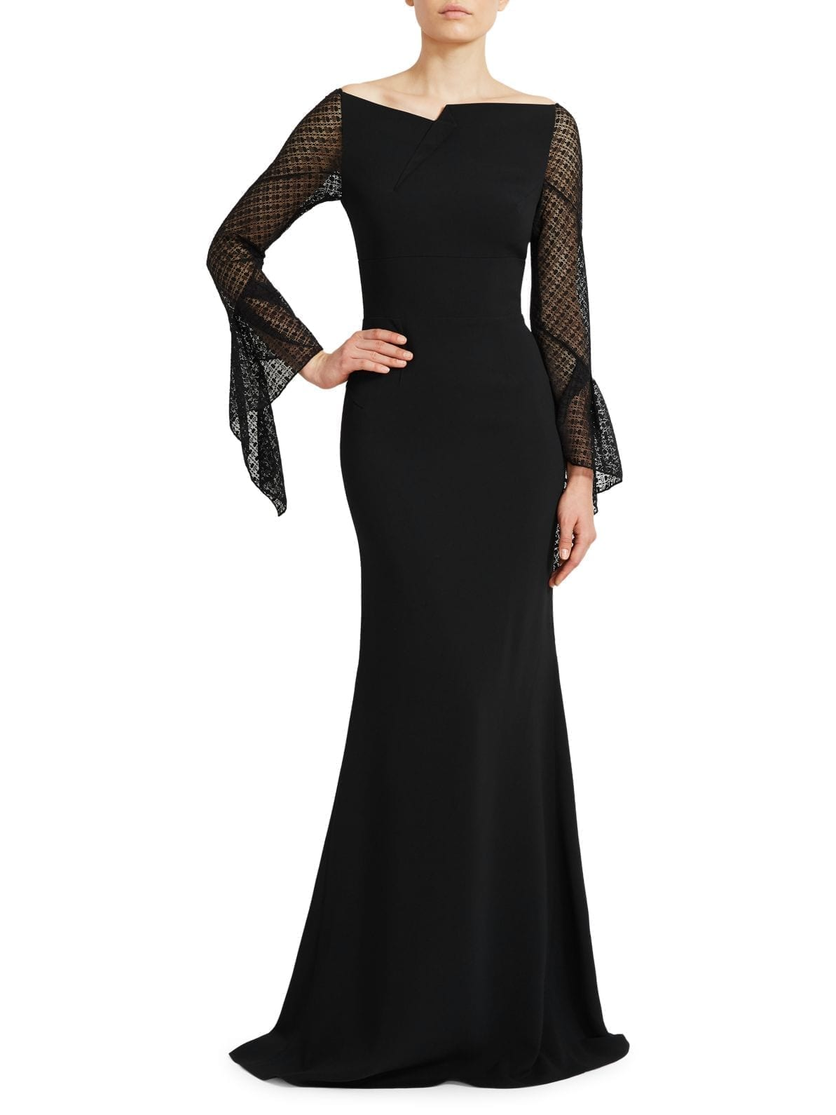 ROLAND MOURET Hafran Sheer-Sleeve Gown Trumpet Gown