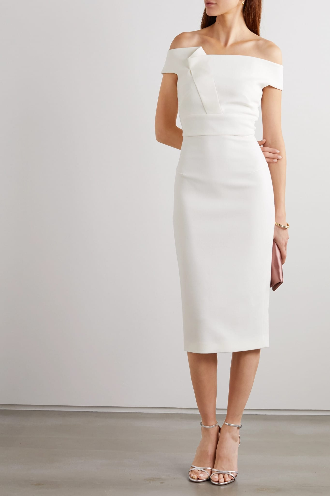 ROLAND MOURET Monamy Off-the-shoulder Wool-crepe Midi Dress