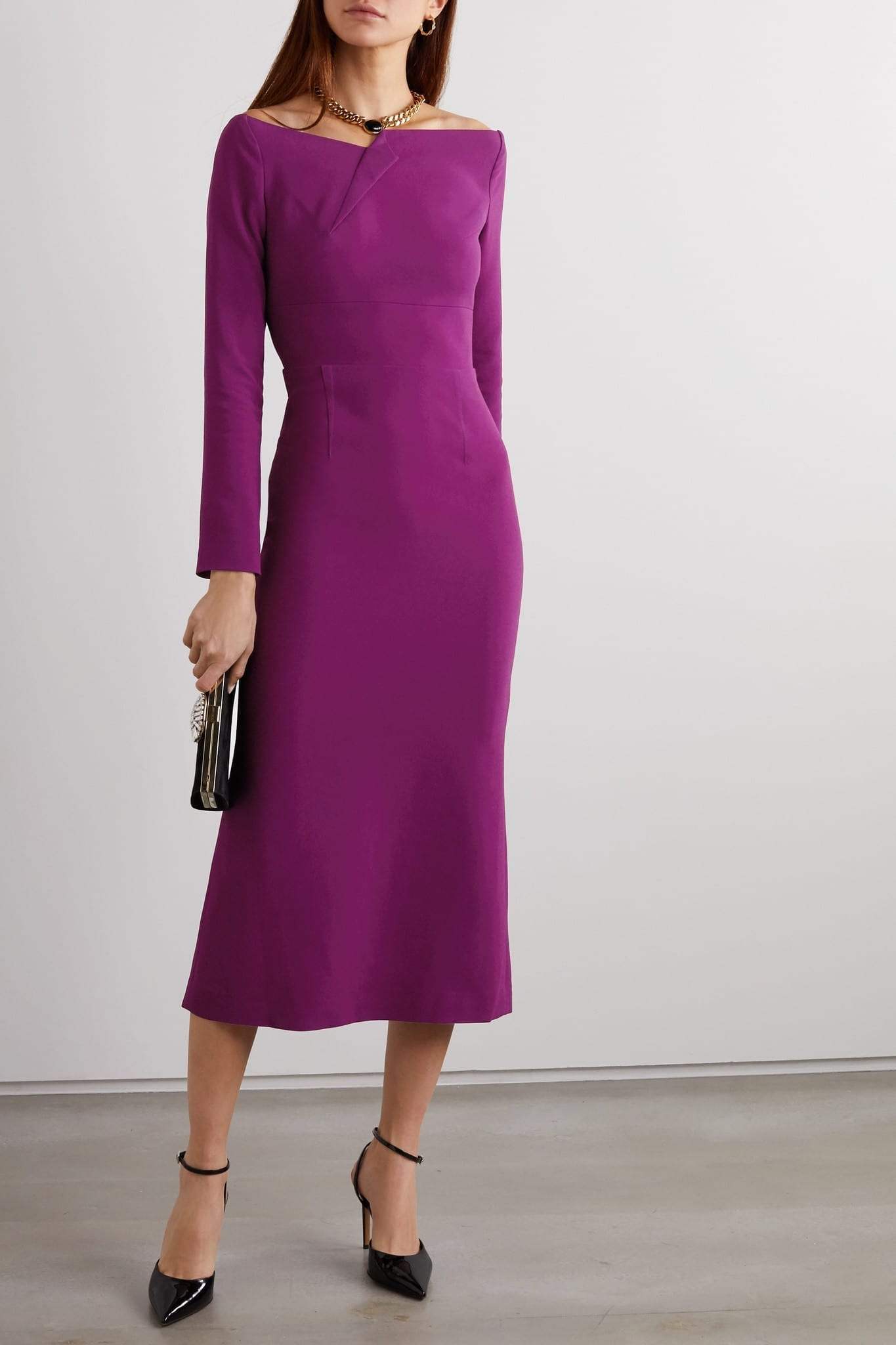 ROLAND MOURET Romolo Stretch-crepe Midi Dress