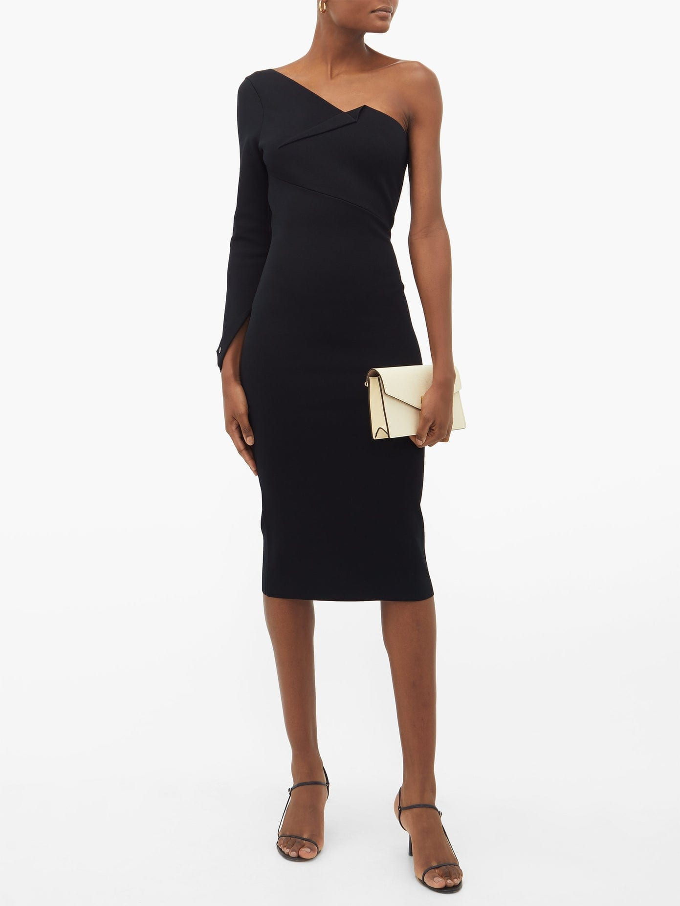 ROLAND MOURET Roseberry One-shoulder Jersey Midi Dress