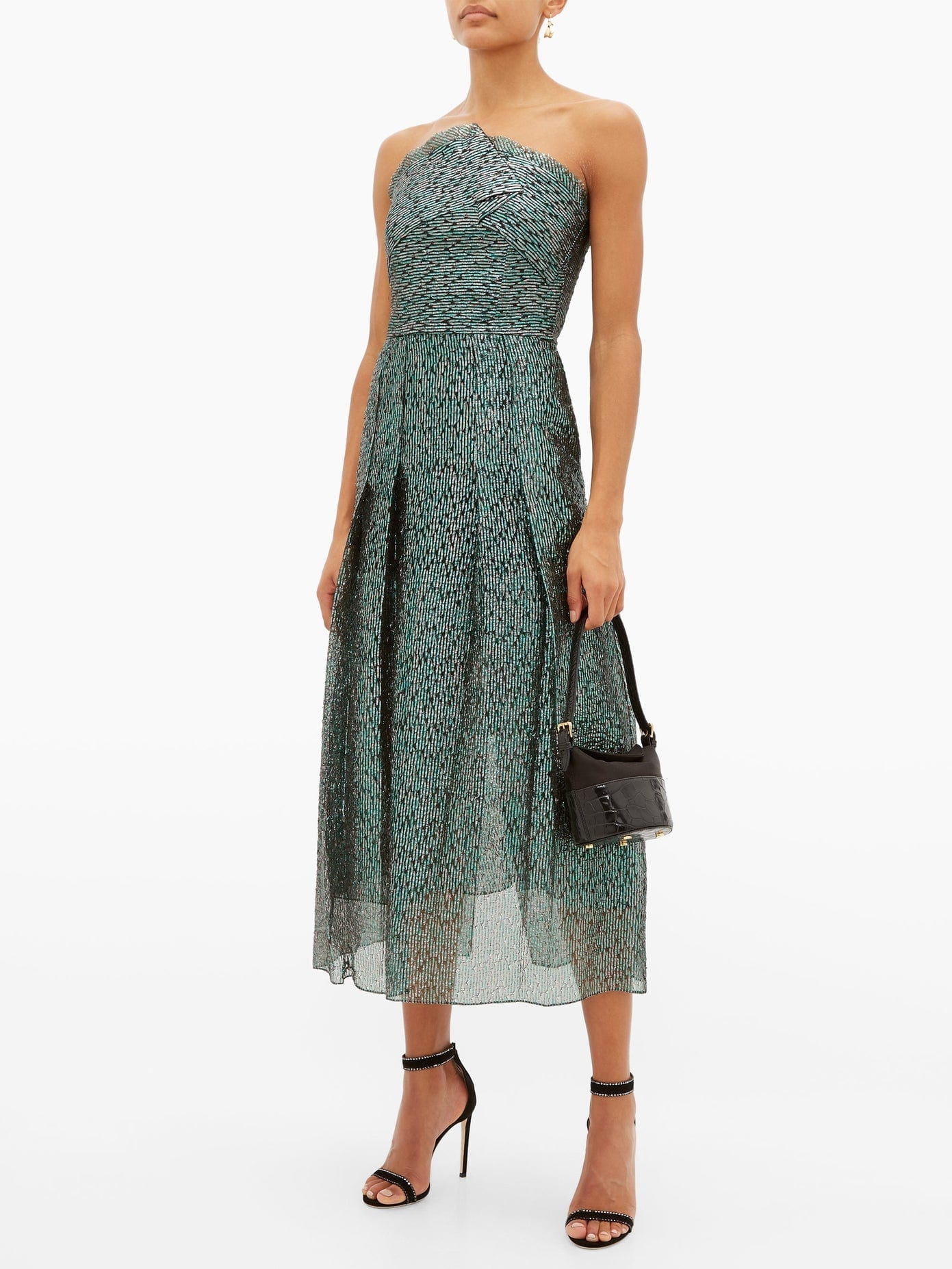 ROLAND MOURET Saranda Metallic Fil-coupé Pleated Dress