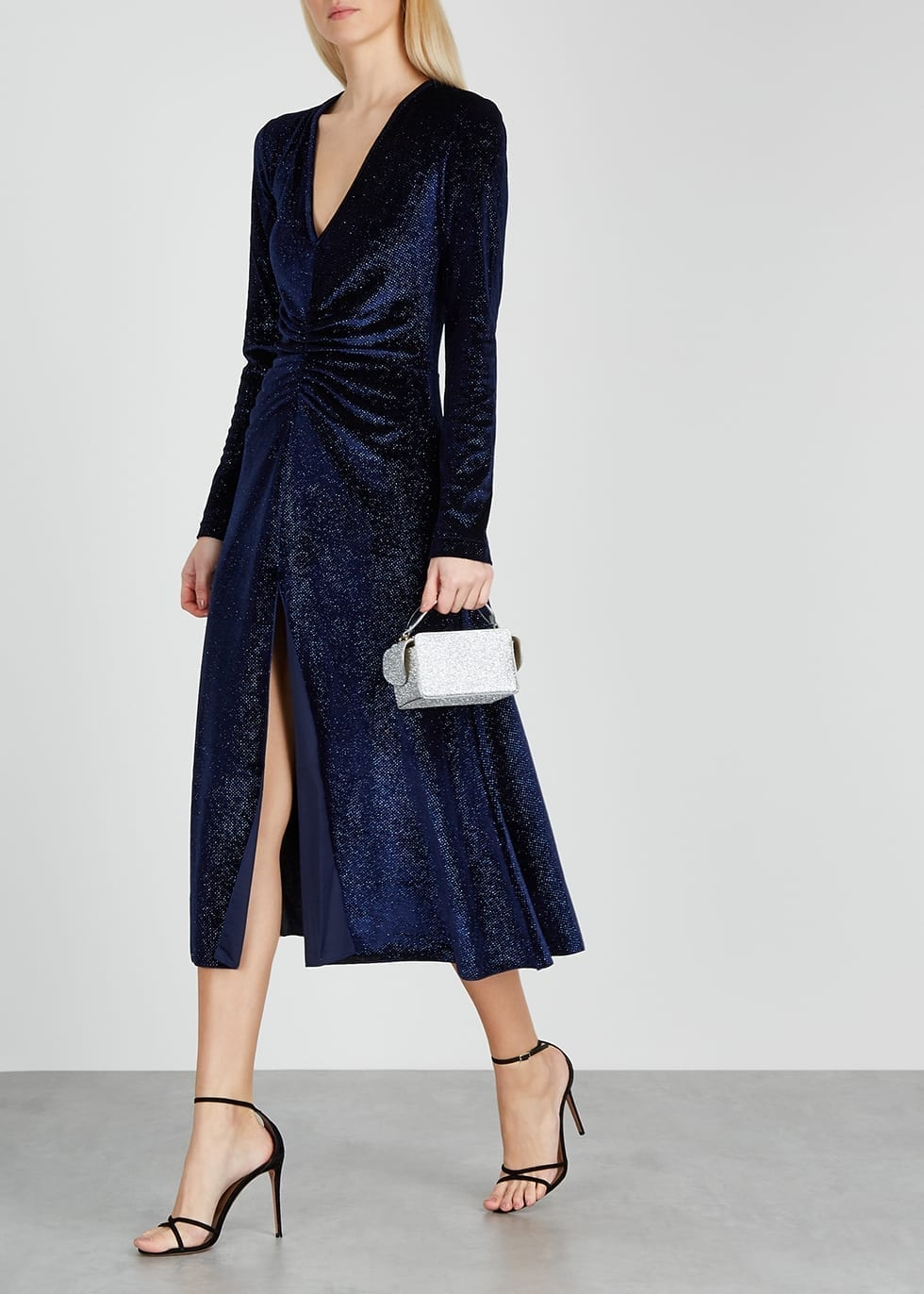 ROTATE BIRGER CHRISTENSEN Number 7 Glittered Velvet Midi Dress