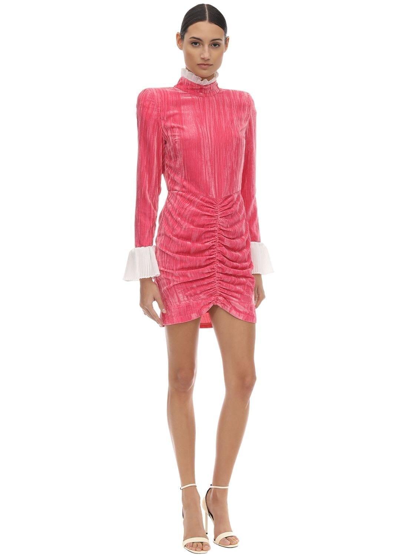 ROTATE Ruffled Collar & Cuffs Velvet Mini Dress