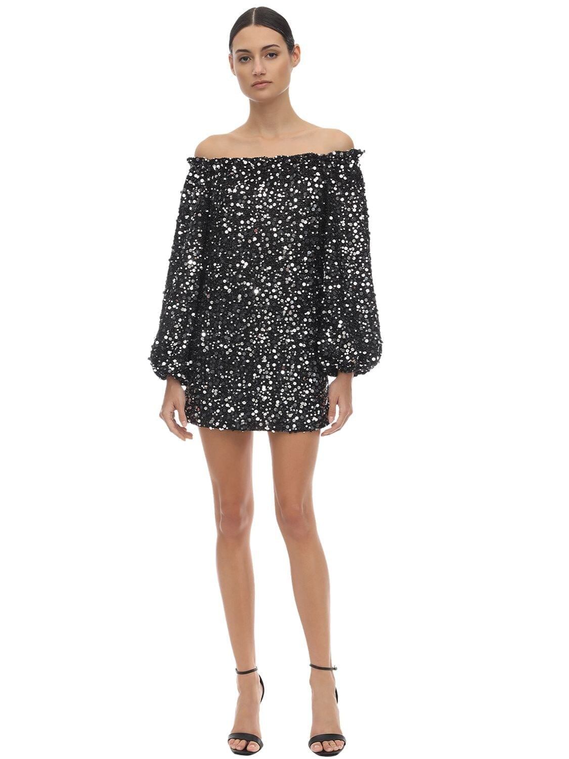 ROTATE Sequined Off-the-shoulder Mini Dress
