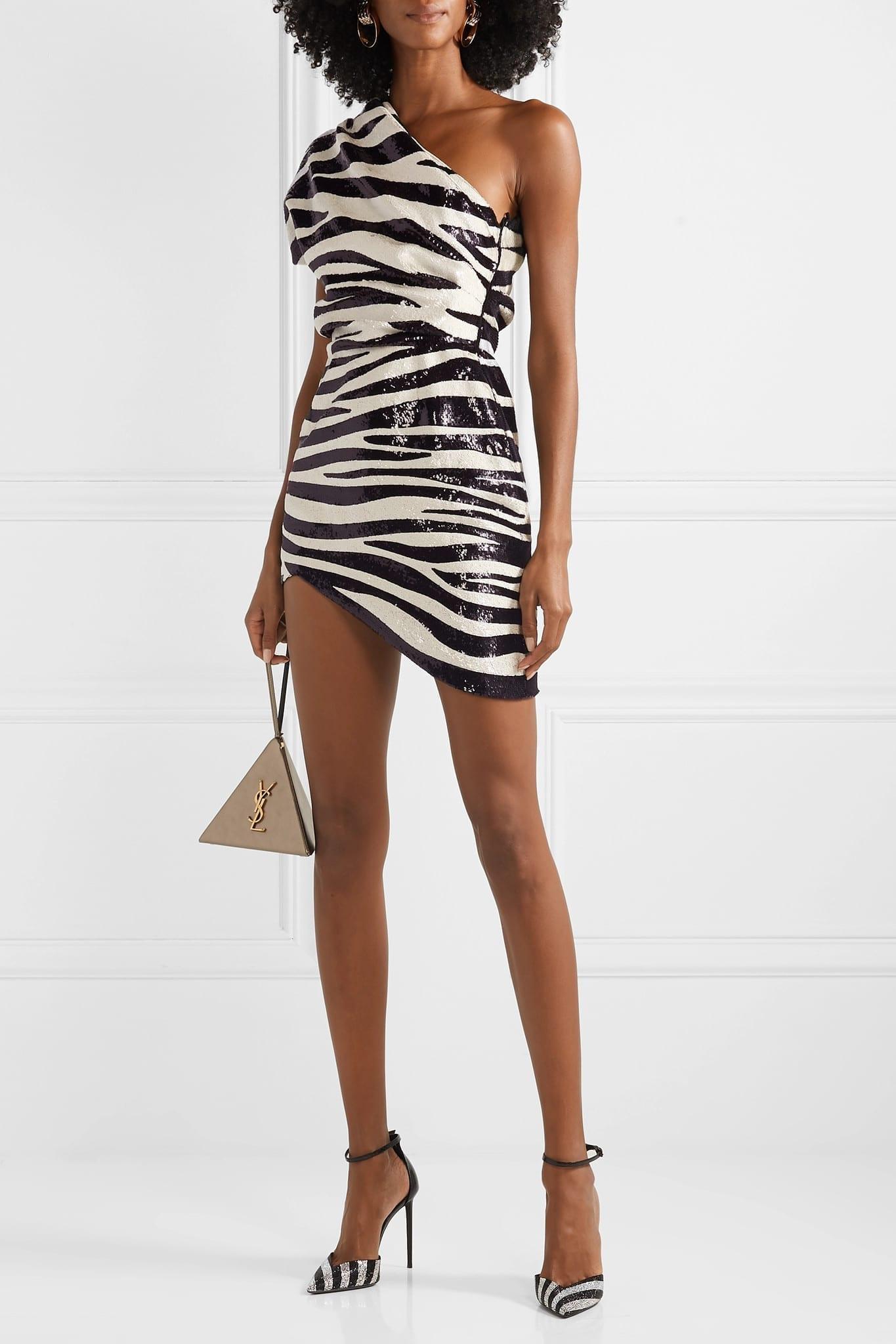 SAINT LAURENT One-shoulder Asymmetric Sequined Crepe Mini Dress