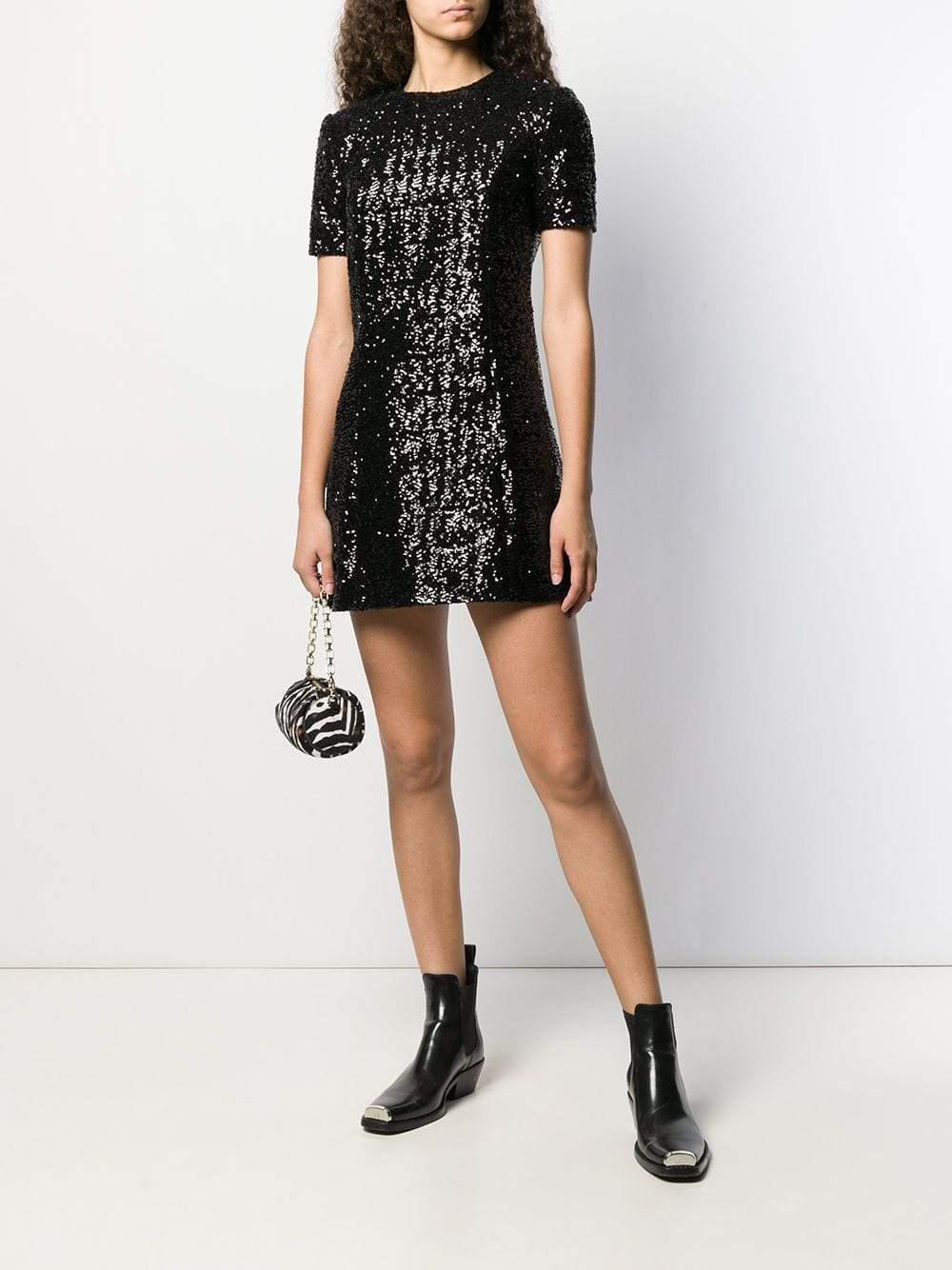 SAINT LAURENT Round Neck Sequin Mini Dress