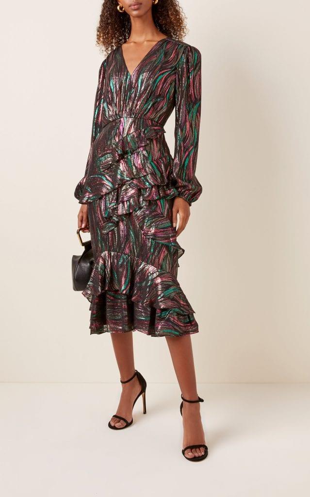 Saloni Alya Midi Metallic Dress We Select Dresses