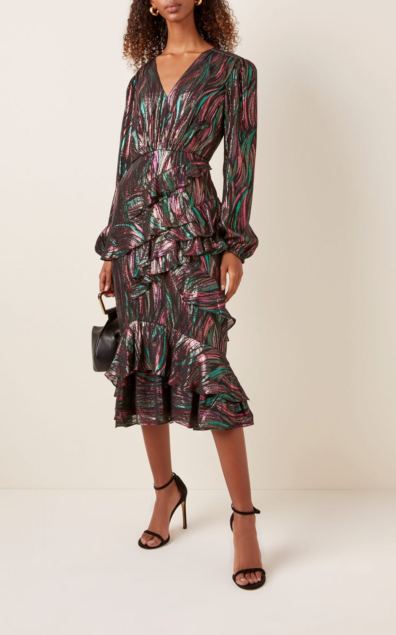 SALONI Alya Ruffled Silk-Blend Lurex Midi Dress