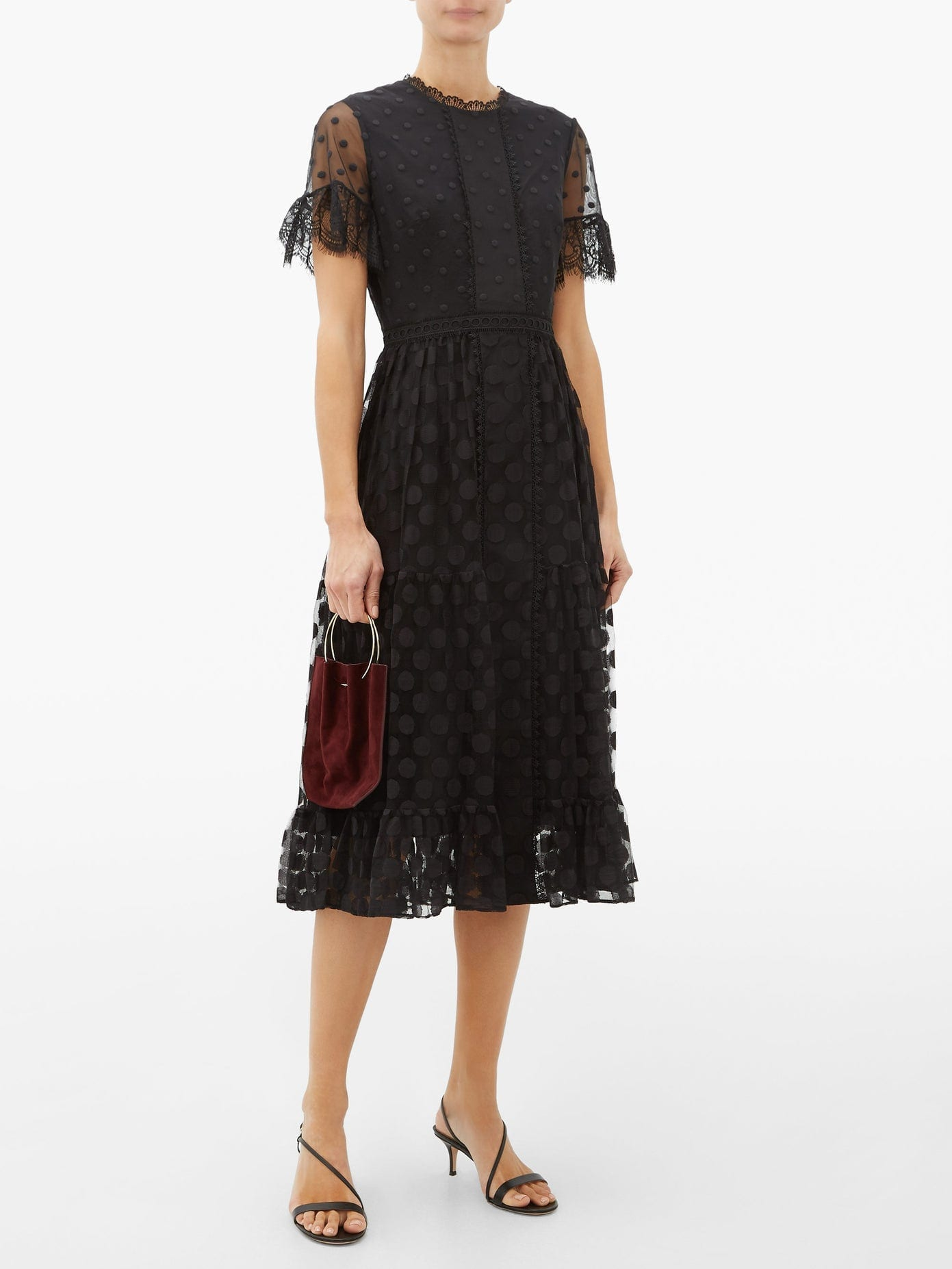 SALONI Andie Lace-Trimmed Polka-Dot Tulle Dress