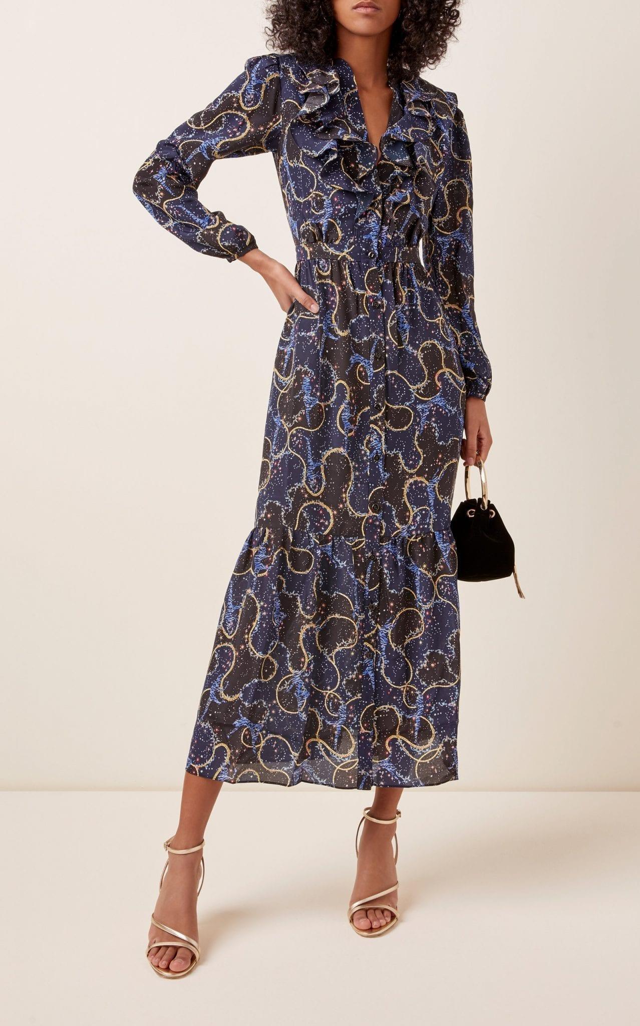 SALONI Ginny Printed Silk Midi Dress