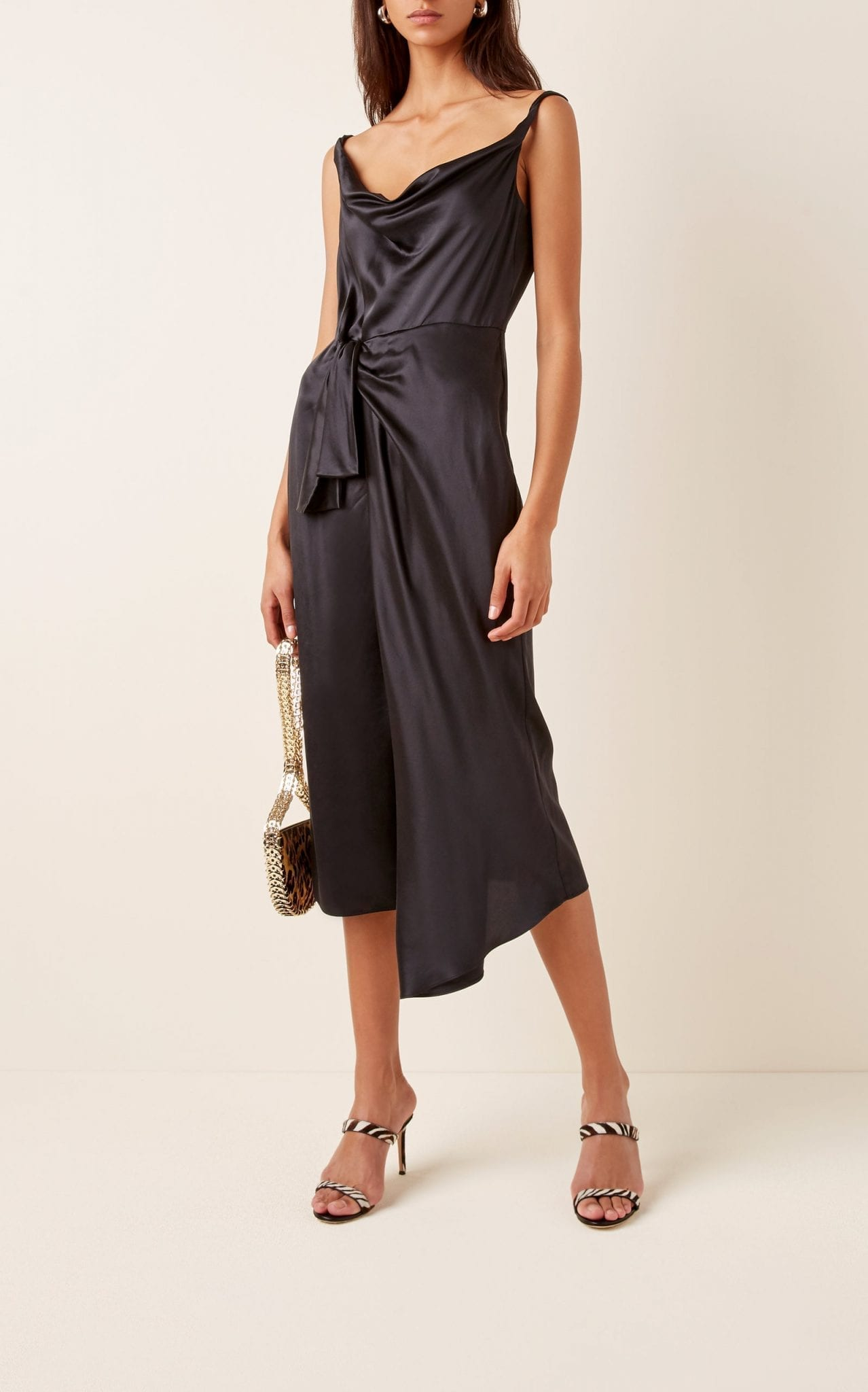 SALONI Giselle Wrap-Effect Silk-Satin Midi Dress