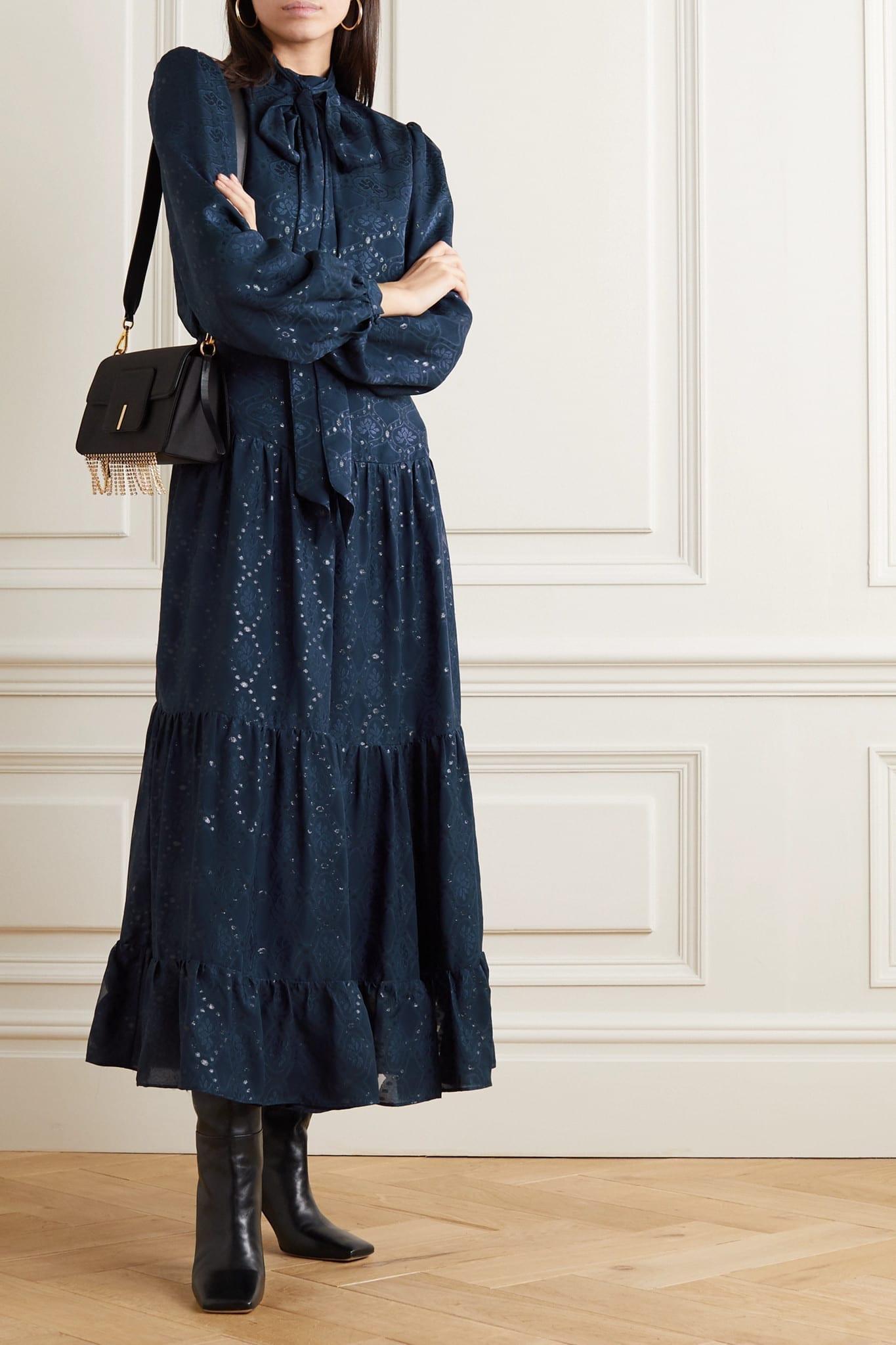 SALONI Isabel C Pussy-bow Silk-blend Jacquard Maxi Dress