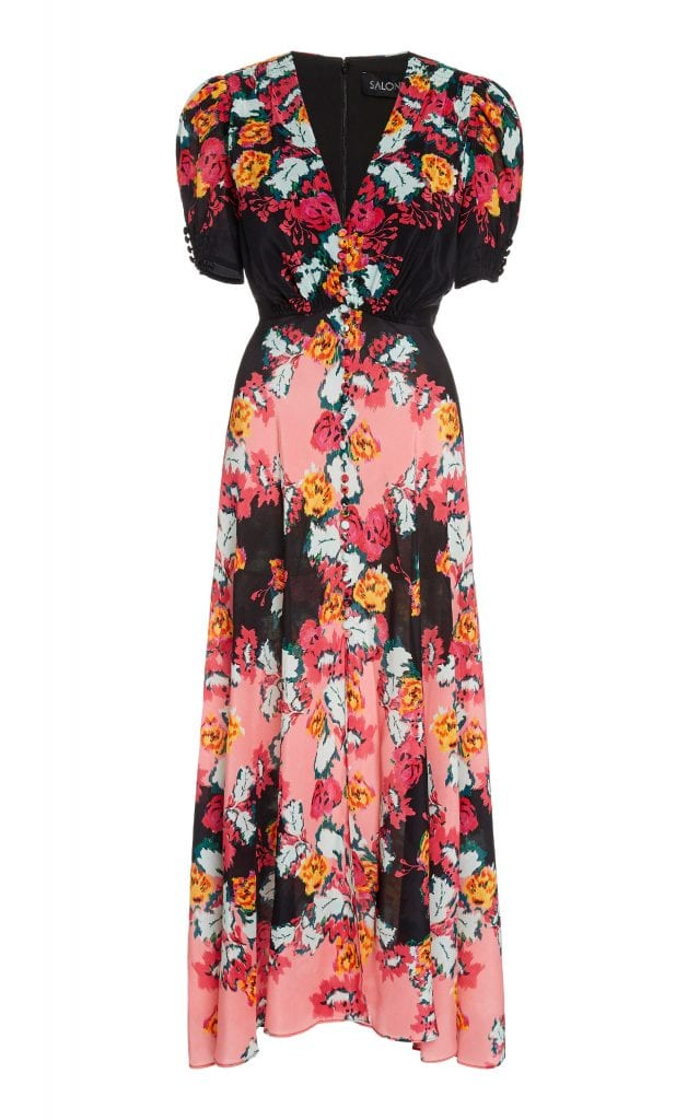 Saloni Lea Floral Printed Silk V Necked Midi Dress We