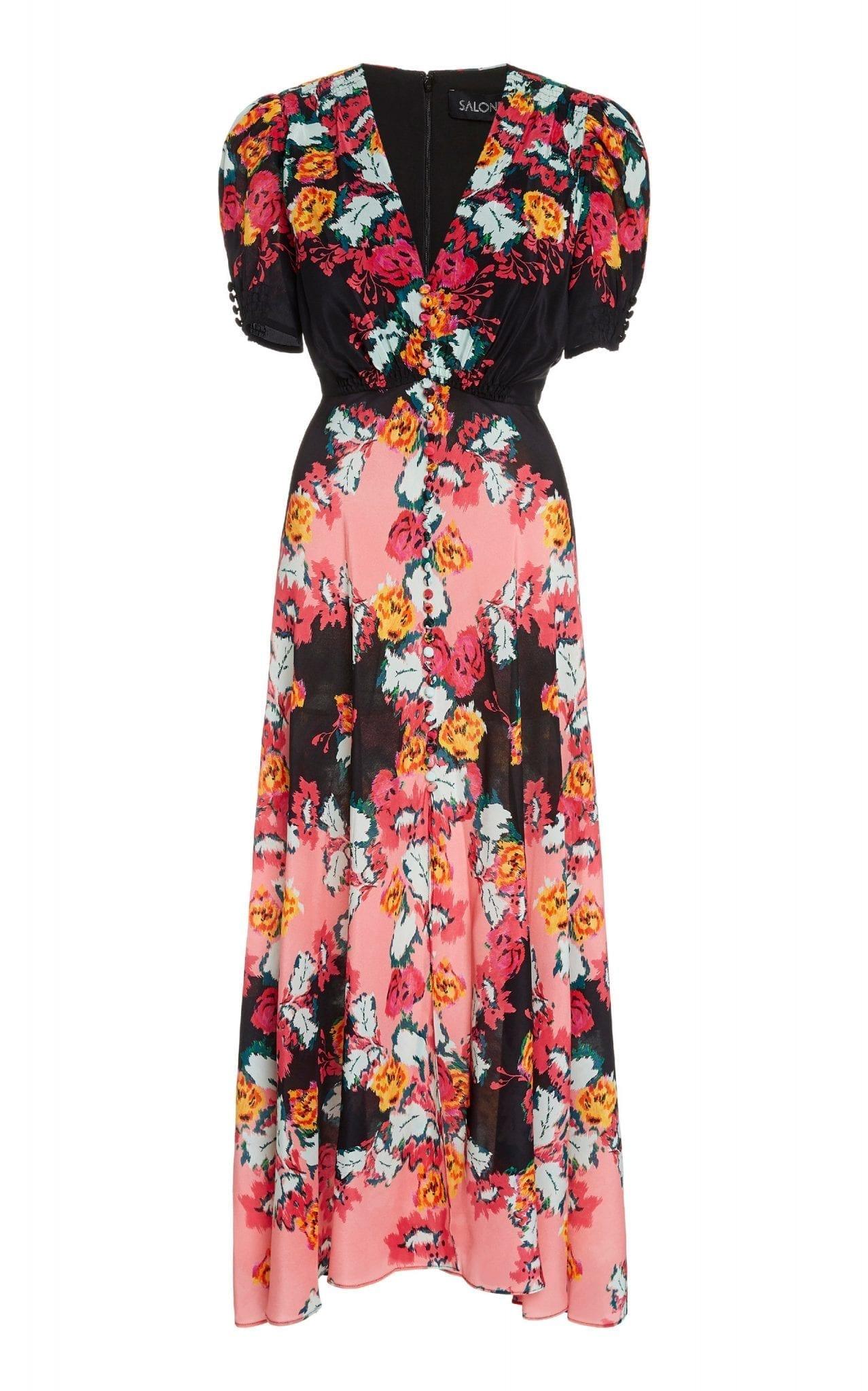 SALONI Lea Floral-Printed Silk Midi Dress