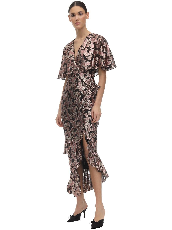 SALONI Rose Ruffled Silk Jacquard Midi Dress