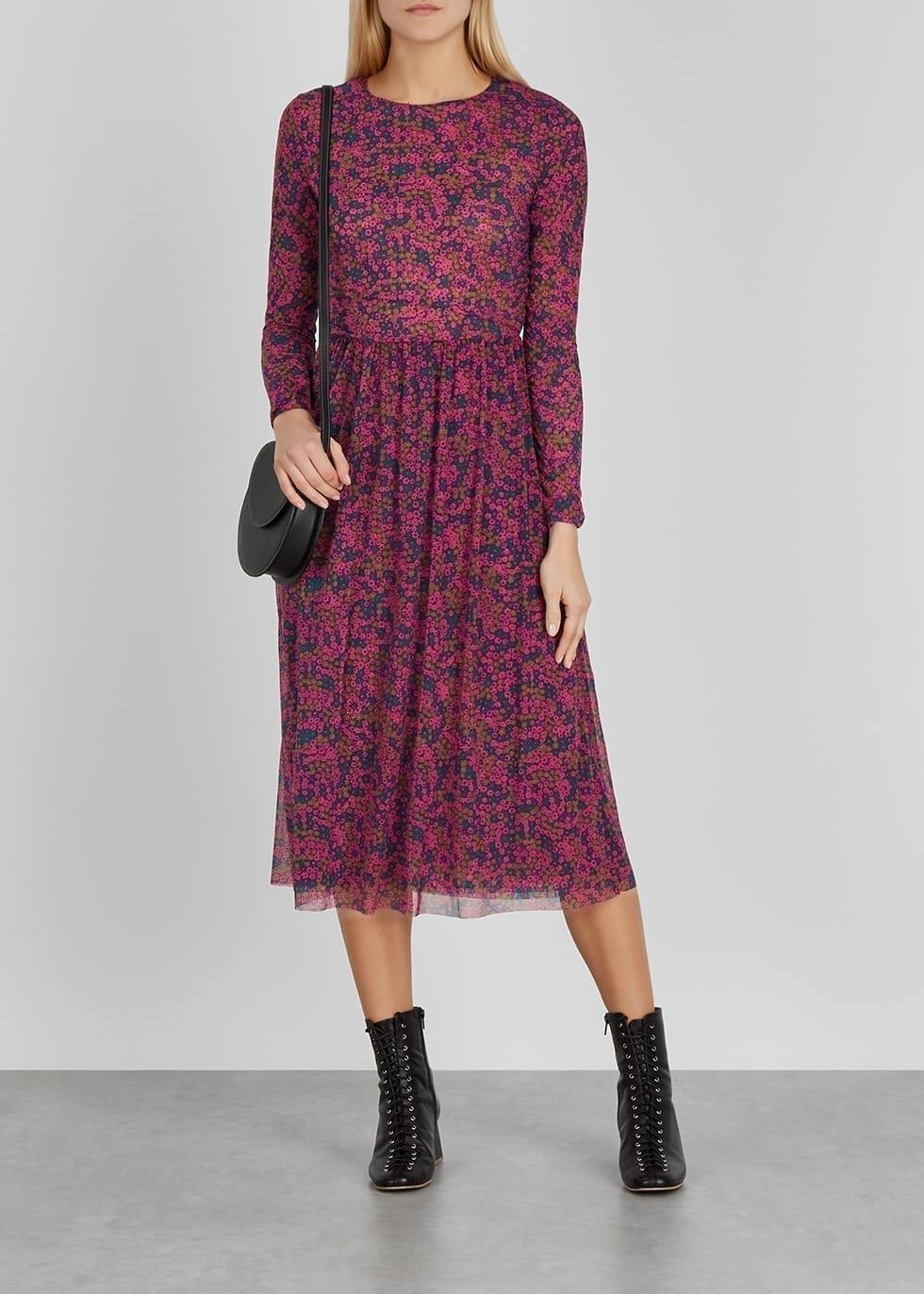 SAMSØE & SAMSØE Vivi Floral-print Mesh Midi Dress