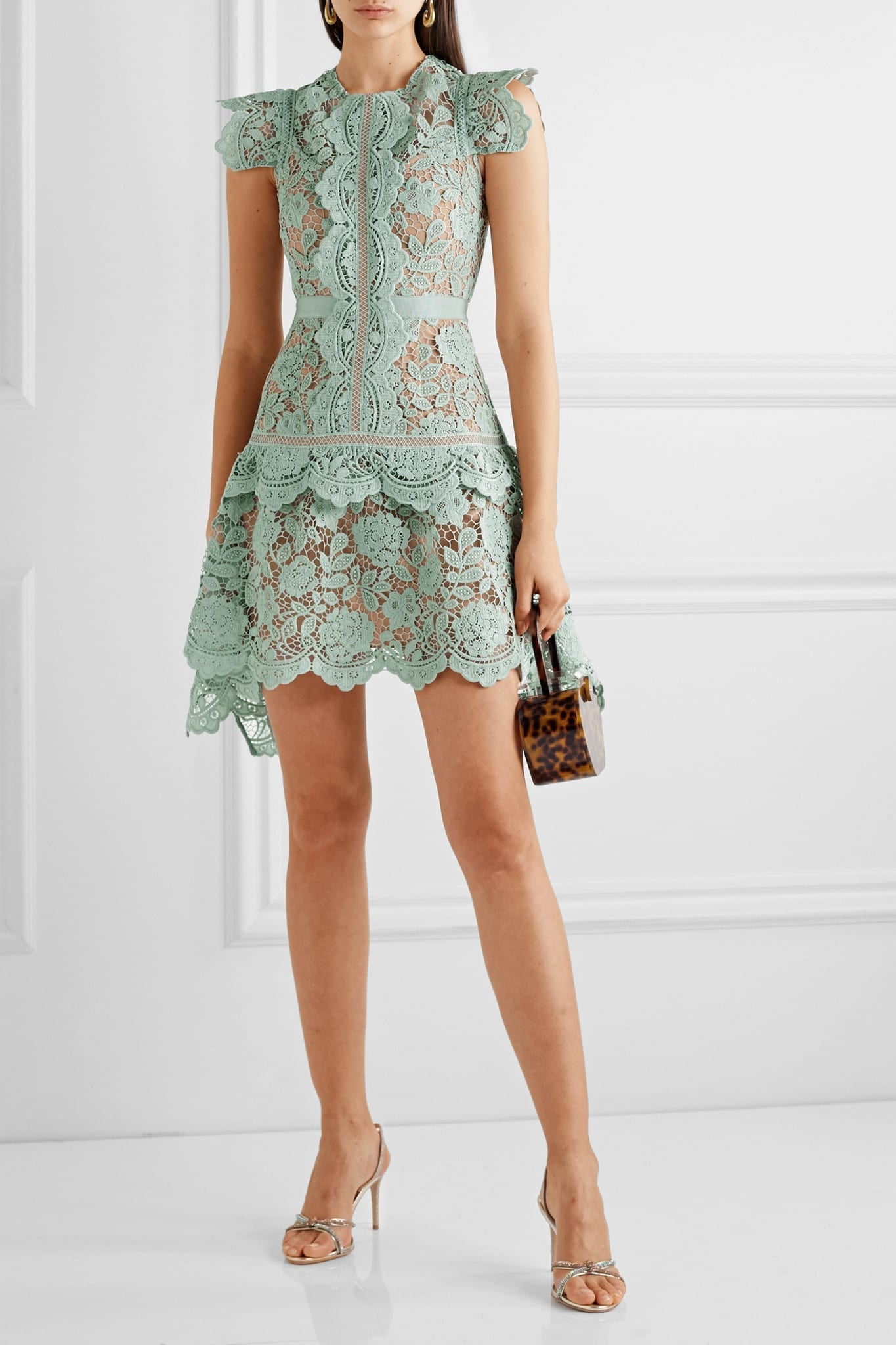 SELF-PORTRAI Tasymmetric Grosgrain-trimmed Corded Lace Mini Dress