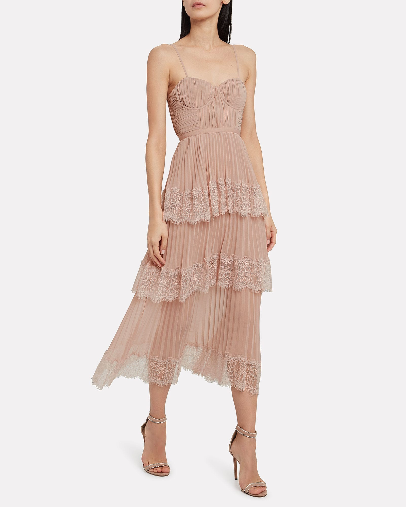 SELF-PORTRAIT Chiffon Lace-Trimmed Midi Dress