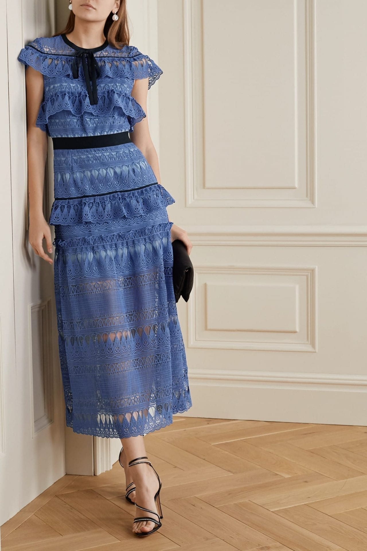 SELF-PORTRAIT Daphne Grosgrain-trimmed Ruffled Guipure Lace Midi Dress