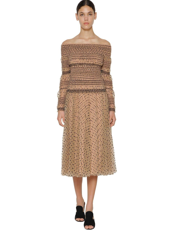 SELF-PORTRAIT Flocked Smock Midi Dress