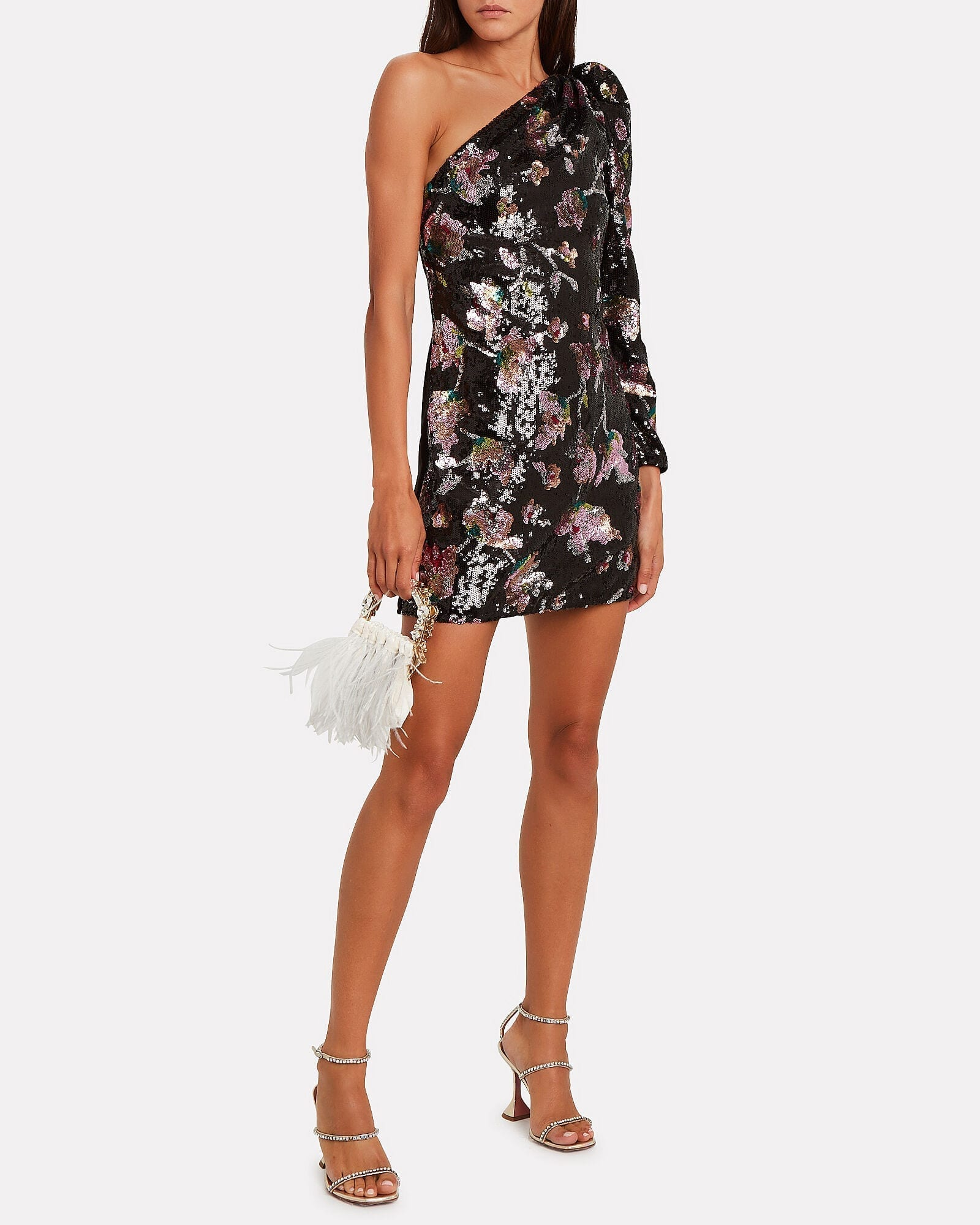 SELF-PORTRAIT Midnight Bloom Sequin One-Shoulder Dress