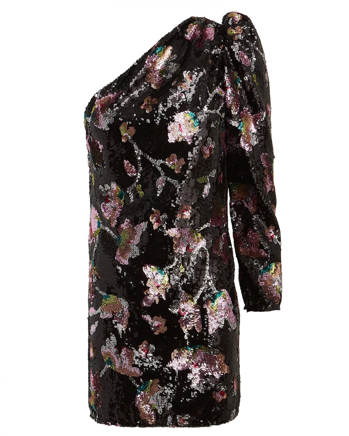 SELF-PORTRAIT Midnight Bloom Sequin One-Shoulder Dress