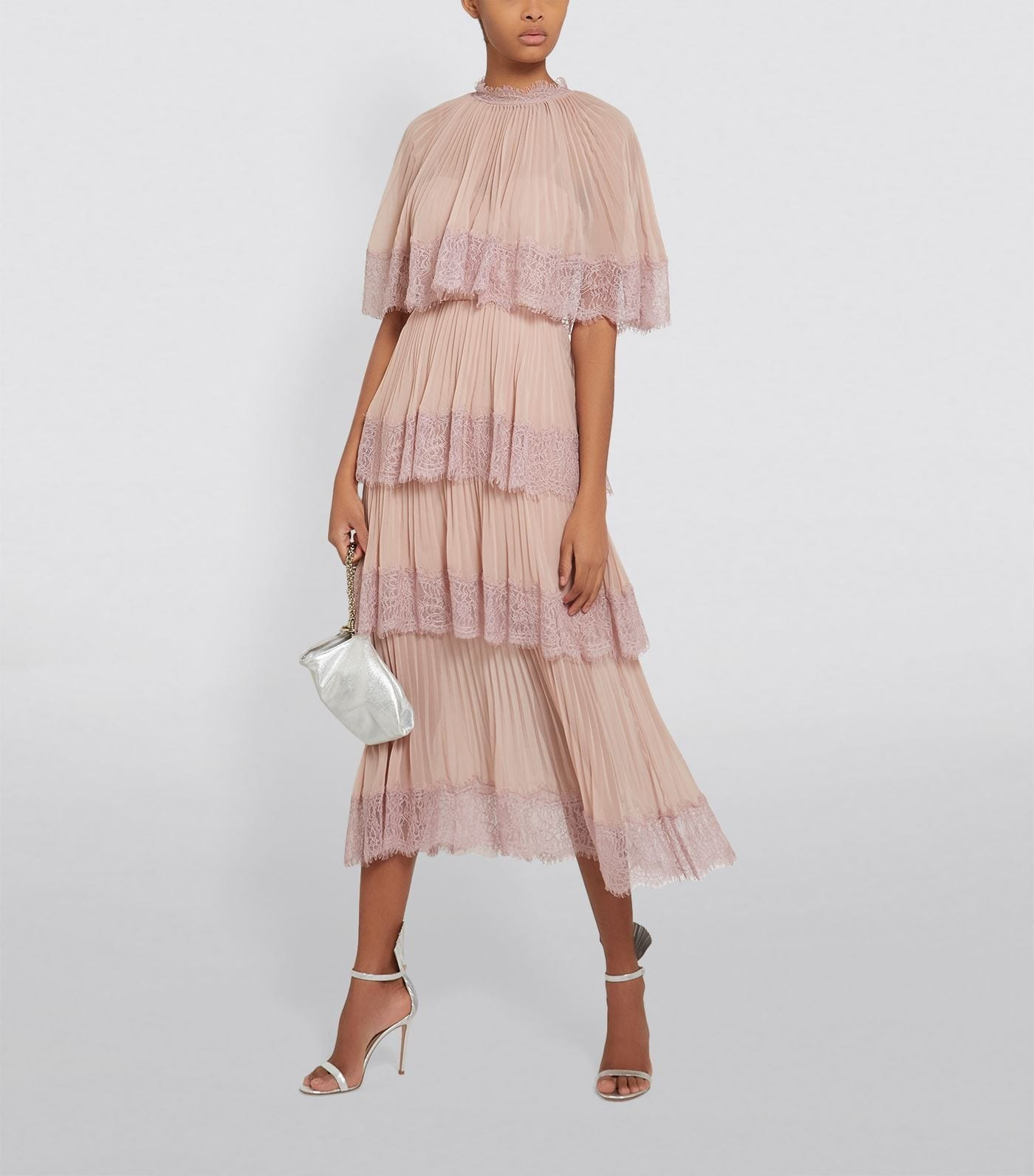SELF-PORTRAIT Pleated Tiered Cape Dress