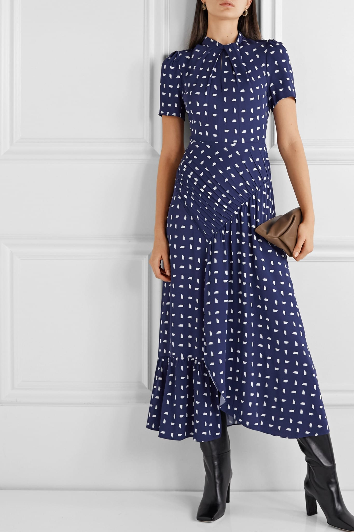 SELF-PORTRAIT Ruched Printed Crepe Midi Dress