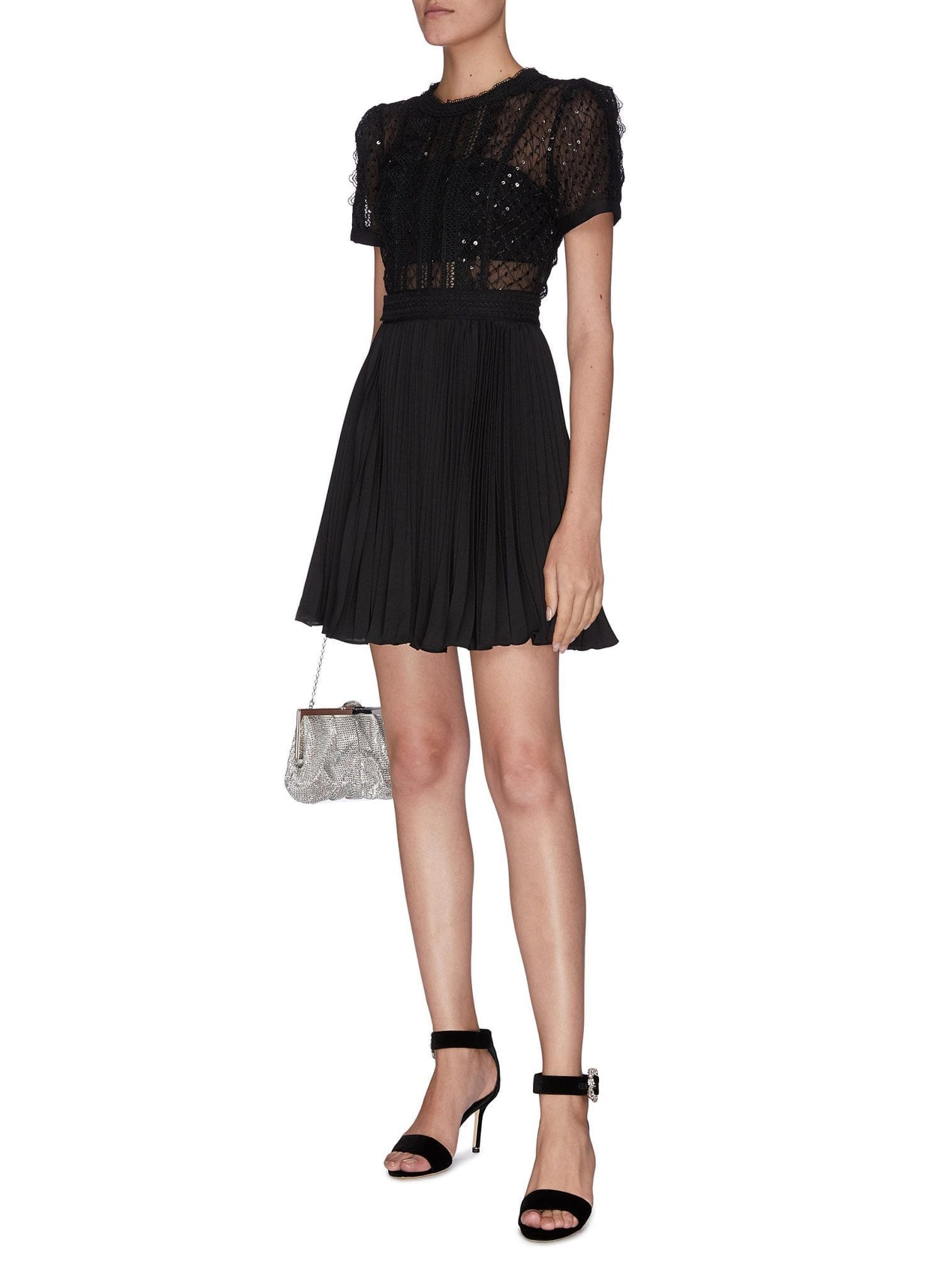 SELF-PORTRAIT Sequin Mesh Panel Puff Sleeve Mini Dress