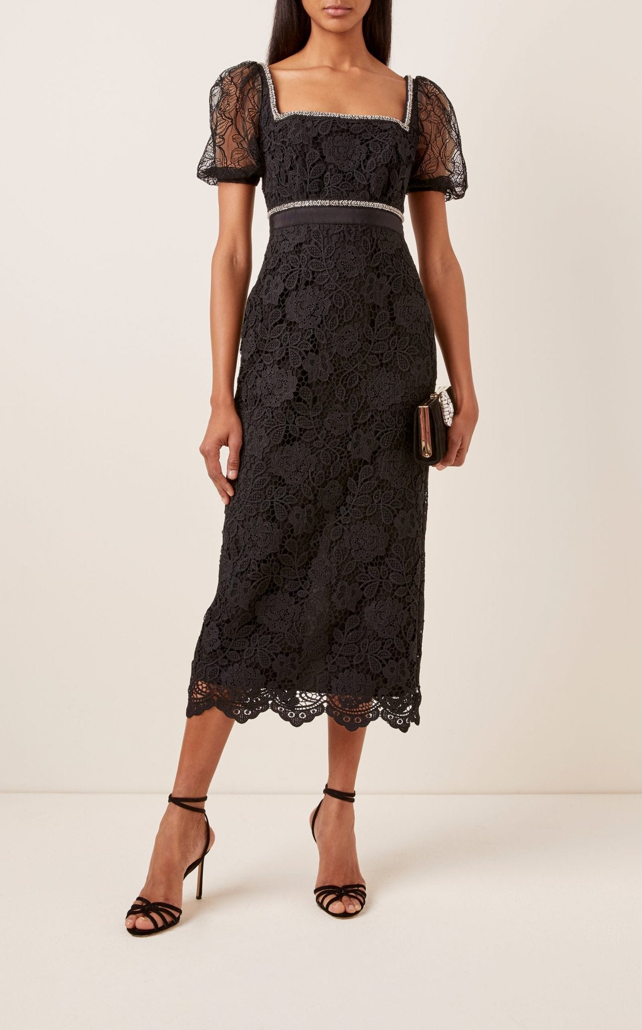 SELF PORTRAIT Square-Neck Lace Midi Dress